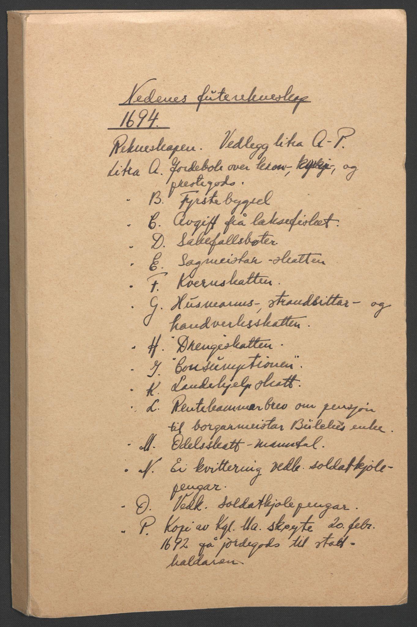 RA, Rentekammeret inntil 1814, Reviderte regnskaper, Fogderegnskap, R39/L2312: Fogderegnskap Nedenes, 1693-1695, s. 110