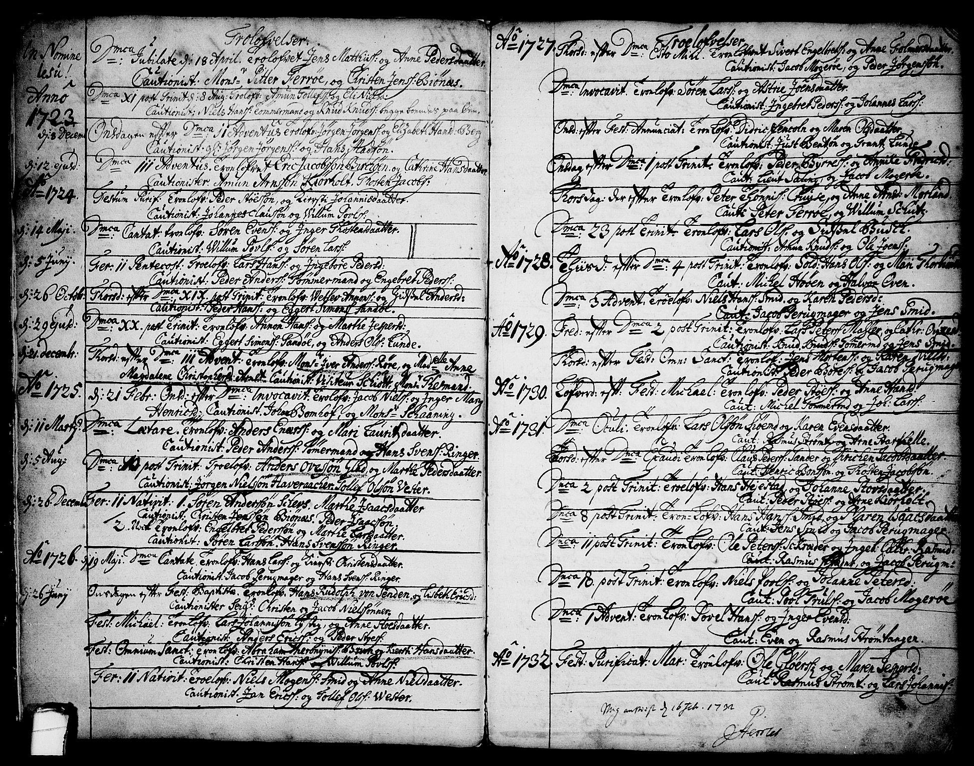 SAKO, Brevik kirkebøker, F/Fa/L0002: Ministerialbok nr. 2, 1720-1764, s. 2