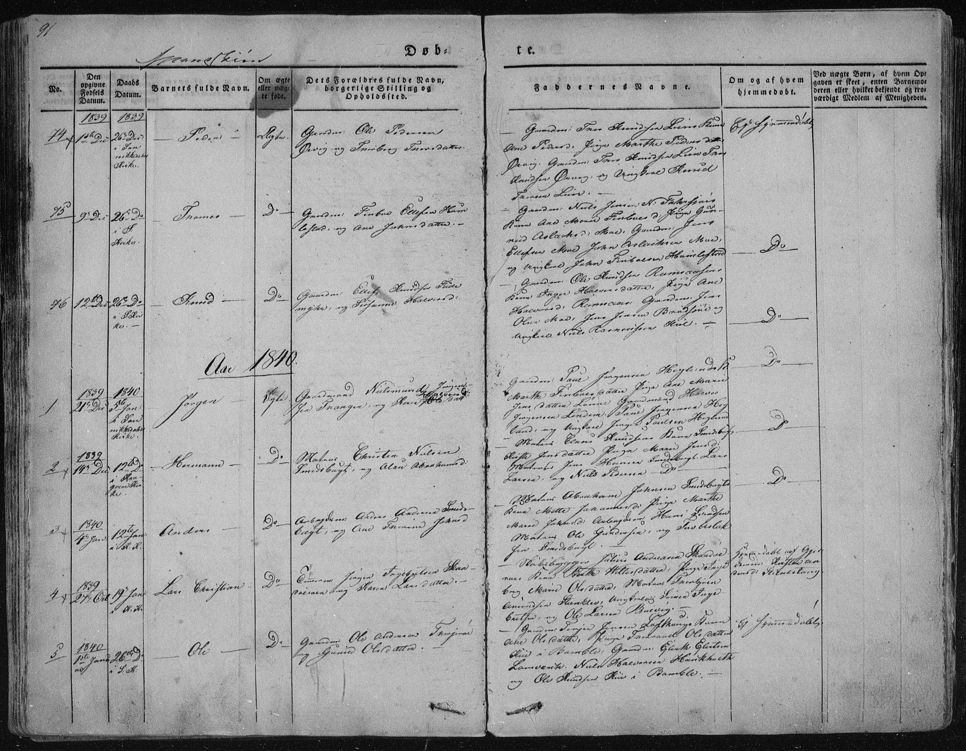 SAKO, Sannidal kirkebøker, F/Fa/L0006: Ministerialbok nr. 6, 1831-1847, s. 91