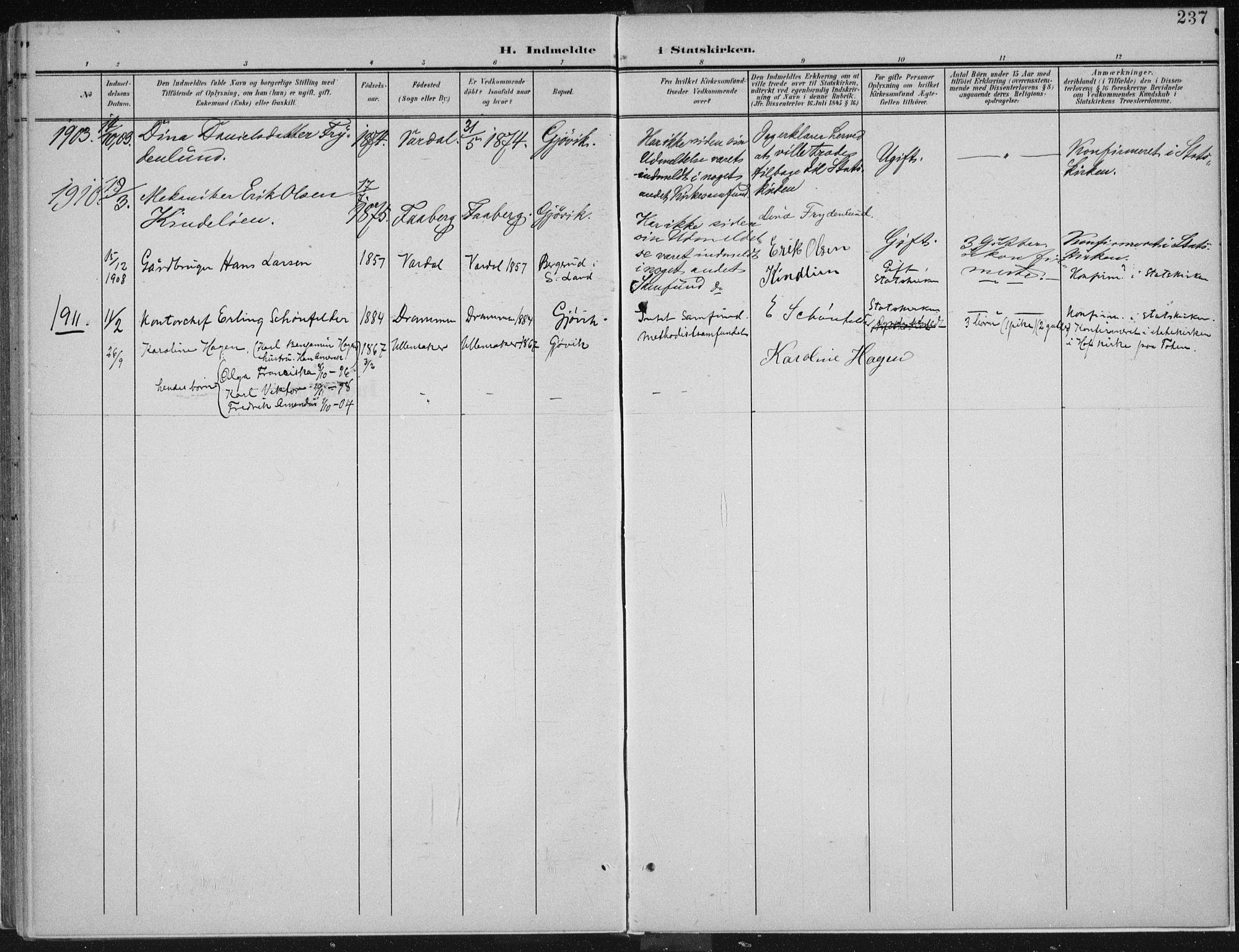 SAH, Vardal prestekontor, H/Ha/Haa/L0013: Ministerialbok nr. 13, 1901-1911, s. 237