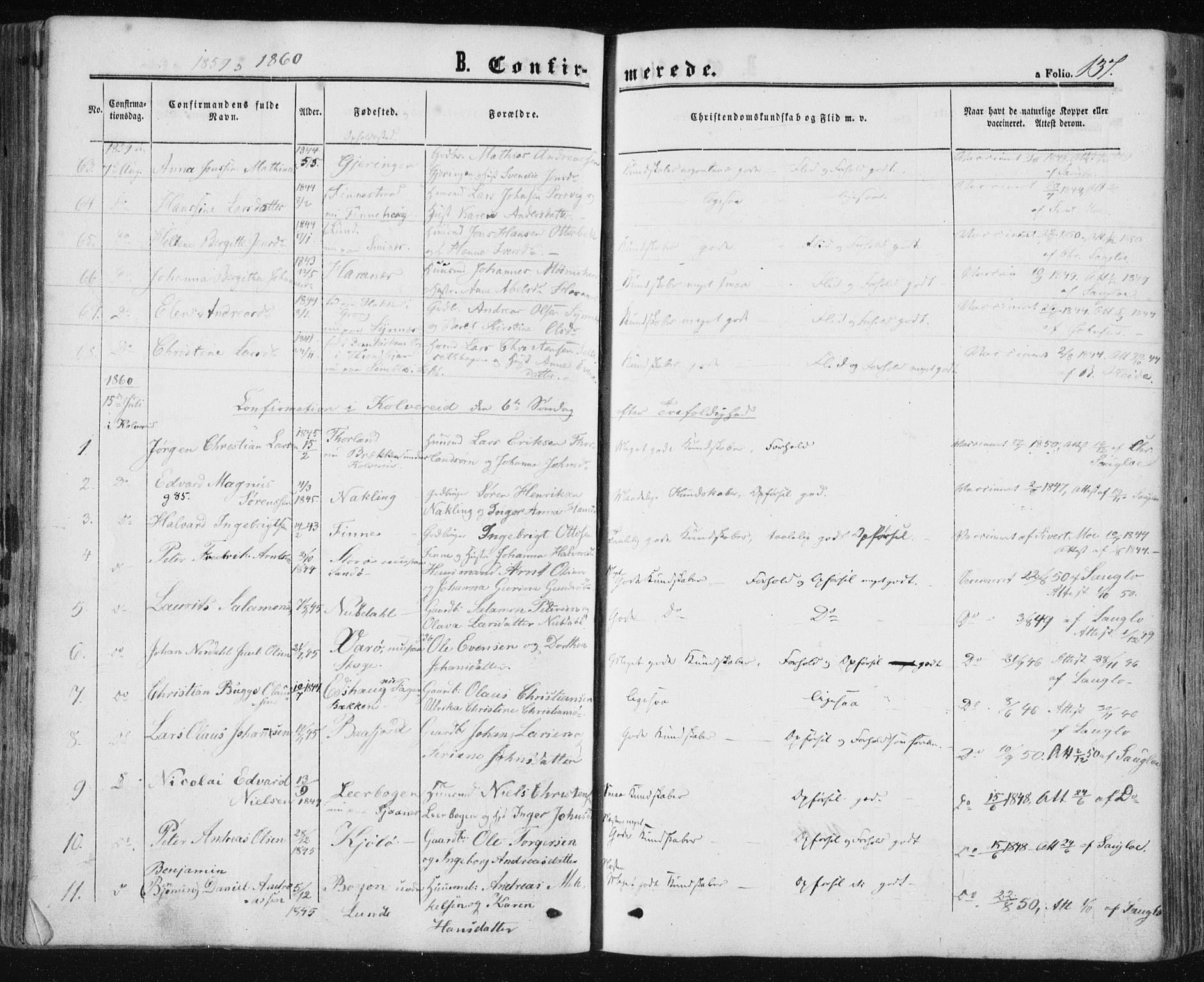SAT, Ministerialprotokoller, klokkerbøker og fødselsregistre - Nord-Trøndelag, 780/L0641: Ministerialbok nr. 780A06, 1857-1874, s. 137