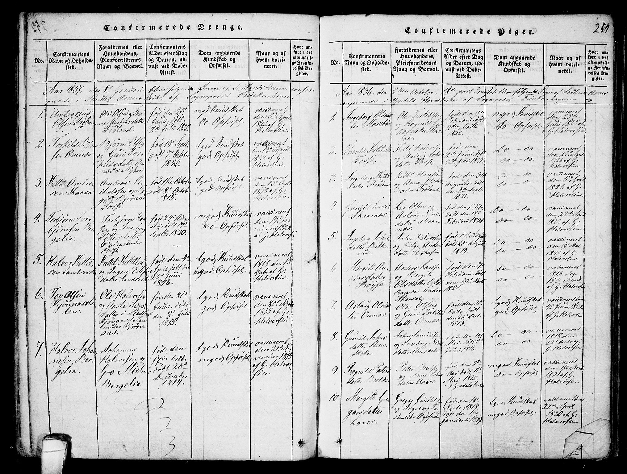 SAKO, Hjartdal kirkebøker, F/Fb/L0001: Ministerialbok nr. II 1, 1815-1843, s. 254
