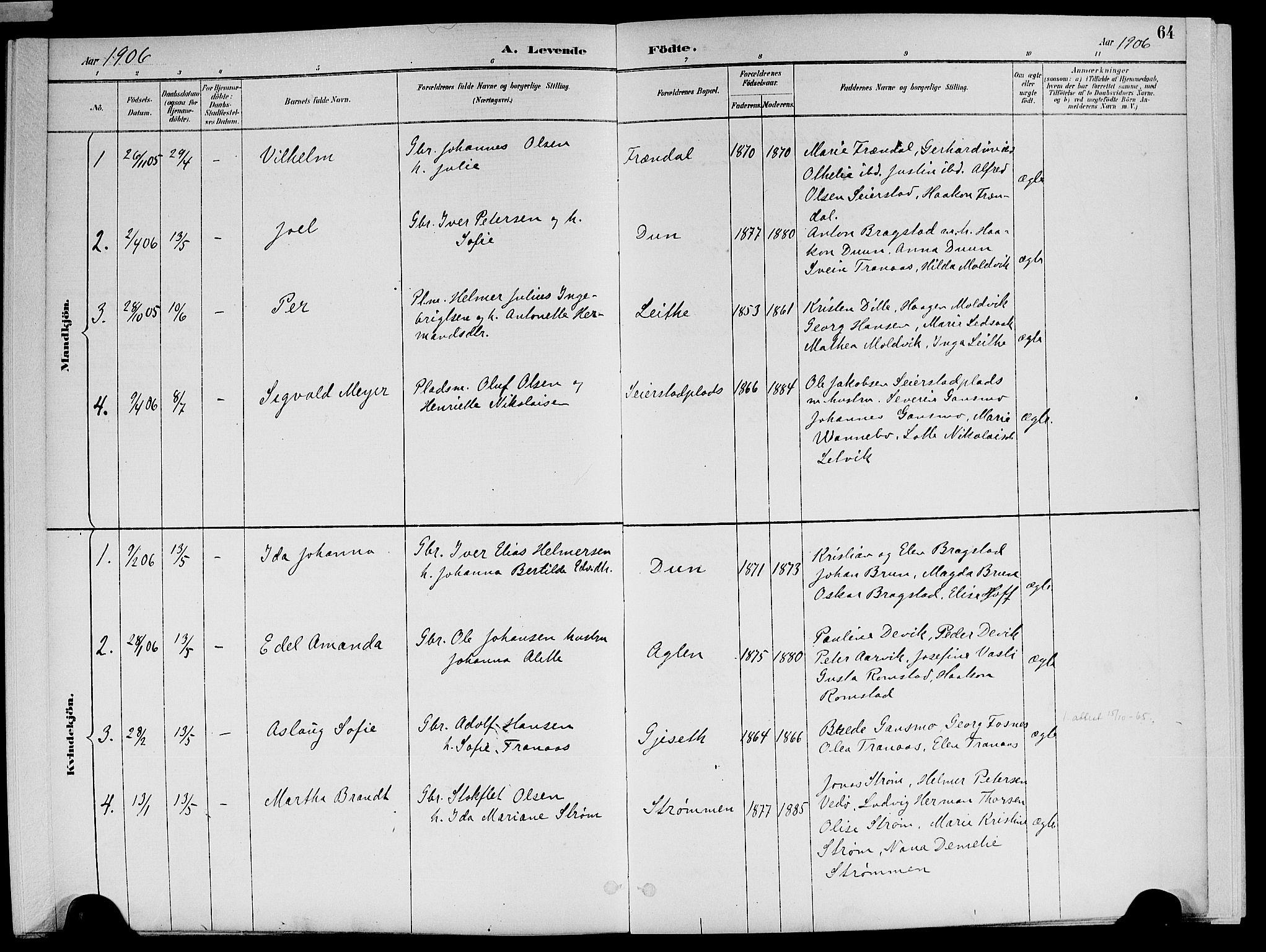 SAT, Ministerialprotokoller, klokkerbøker og fødselsregistre - Nord-Trøndelag, 773/L0617: Ministerialbok nr. 773A08, 1887-1910, s. 64