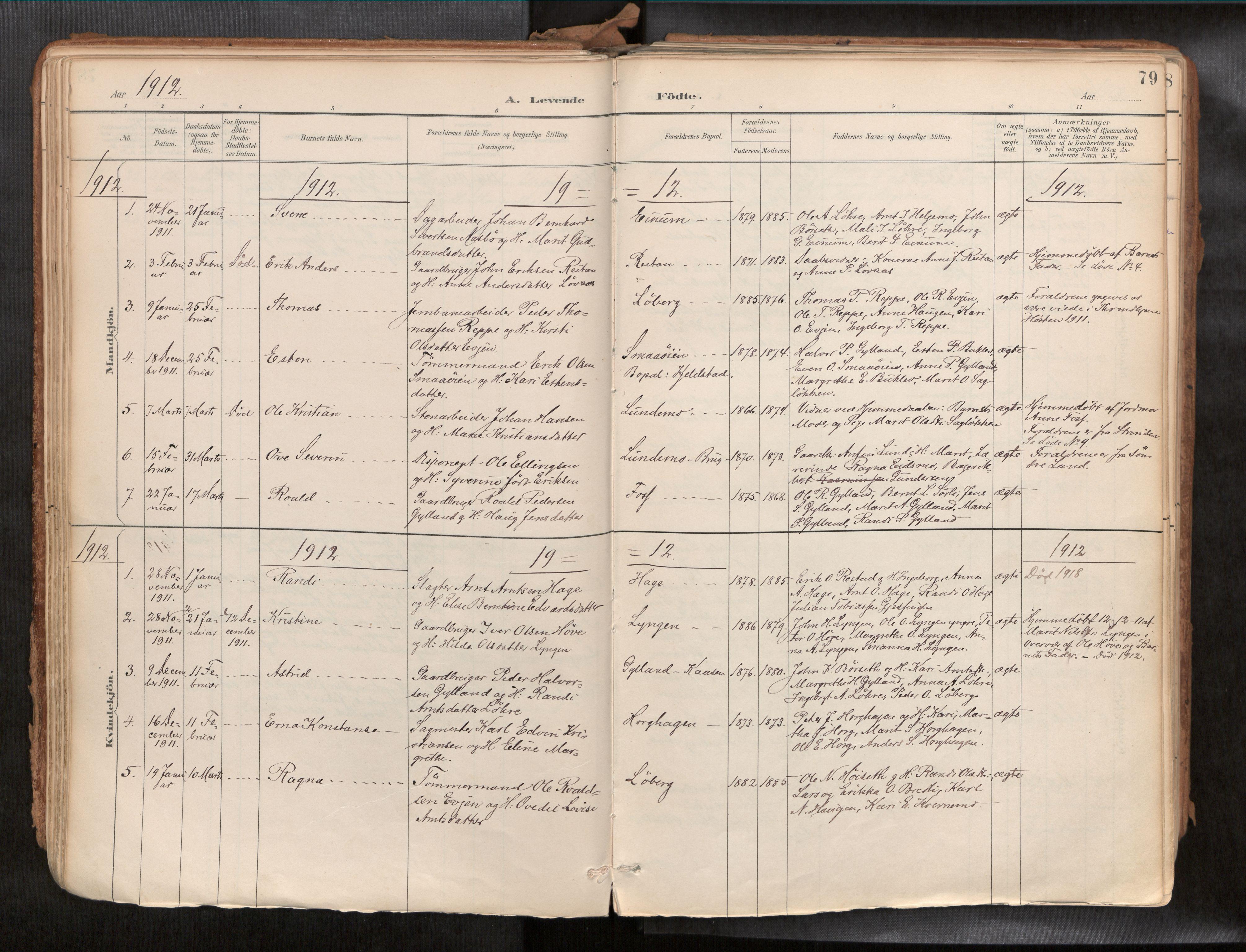 SAT, Ministerialprotokoller, klokkerbøker og fødselsregistre - Sør-Trøndelag, 692/L1105b: Ministerialbok nr. 692A06, 1891-1934, s. 79