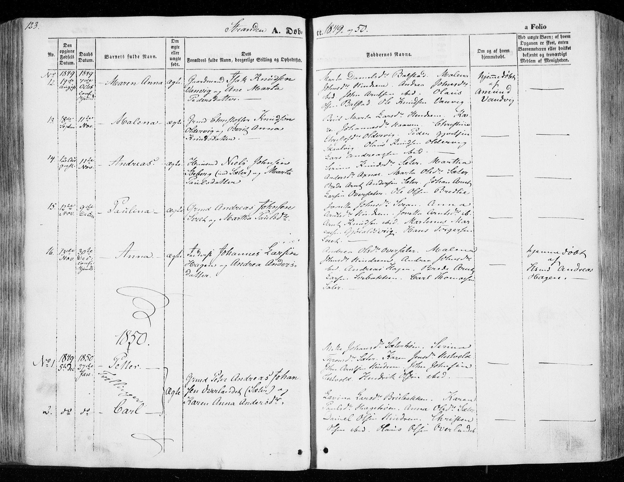 SAT, Ministerialprotokoller, klokkerbøker og fødselsregistre - Nord-Trøndelag, 701/L0007: Ministerialbok nr. 701A07 /2, 1842-1854, s. 123