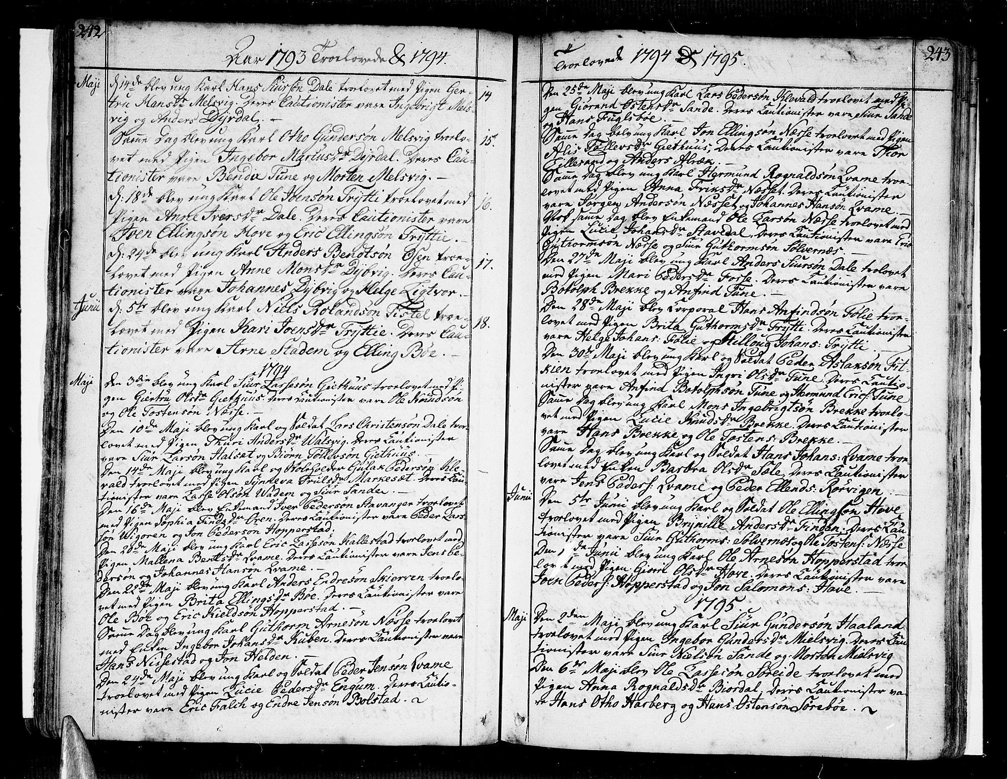 SAB, Vik Sokneprestembete, Ministerialbok nr. A 5, 1787-1820, s. 242-243