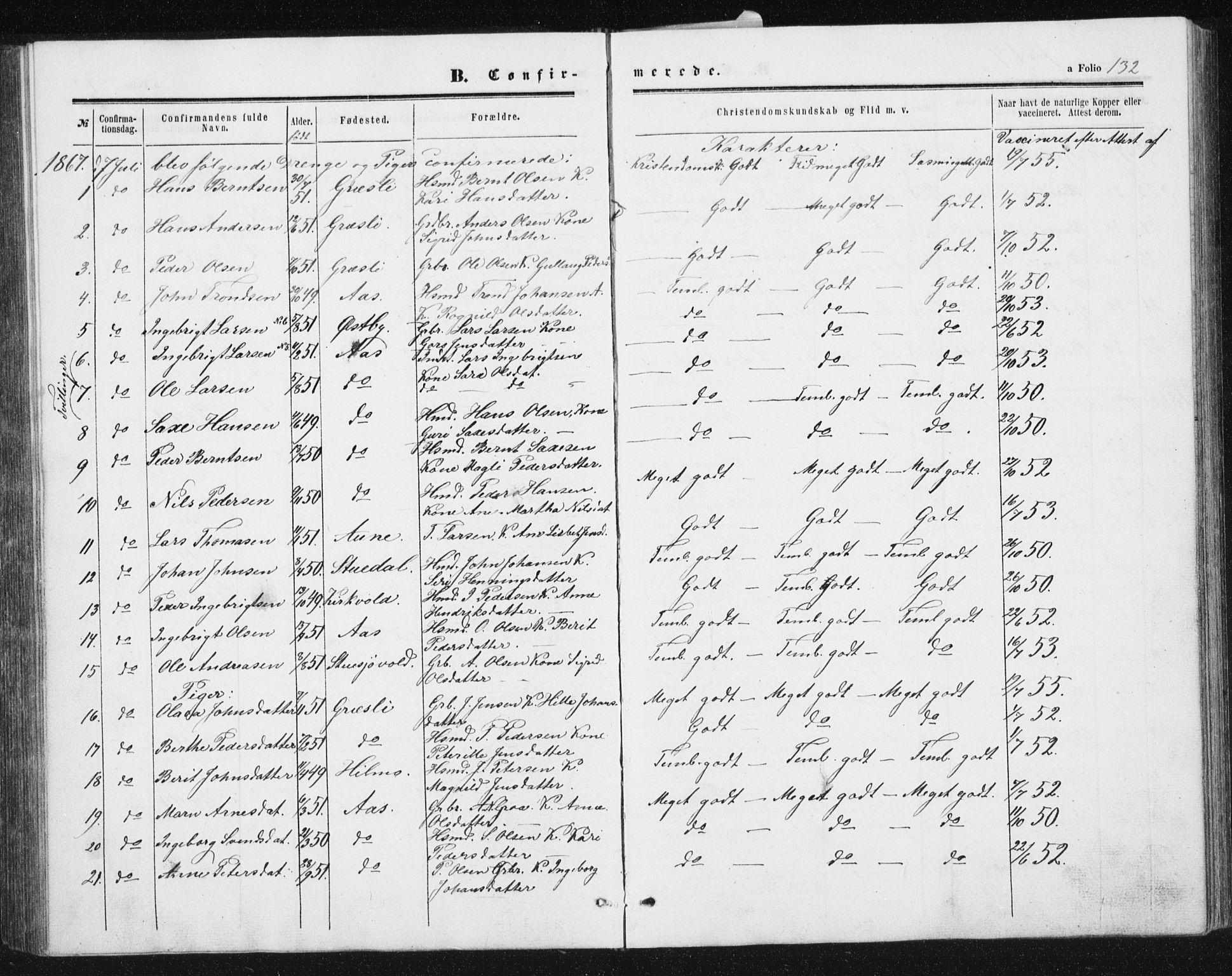 SAT, Ministerialprotokoller, klokkerbøker og fødselsregistre - Sør-Trøndelag, 698/L1166: Klokkerbok nr. 698C03, 1861-1887, s. 132