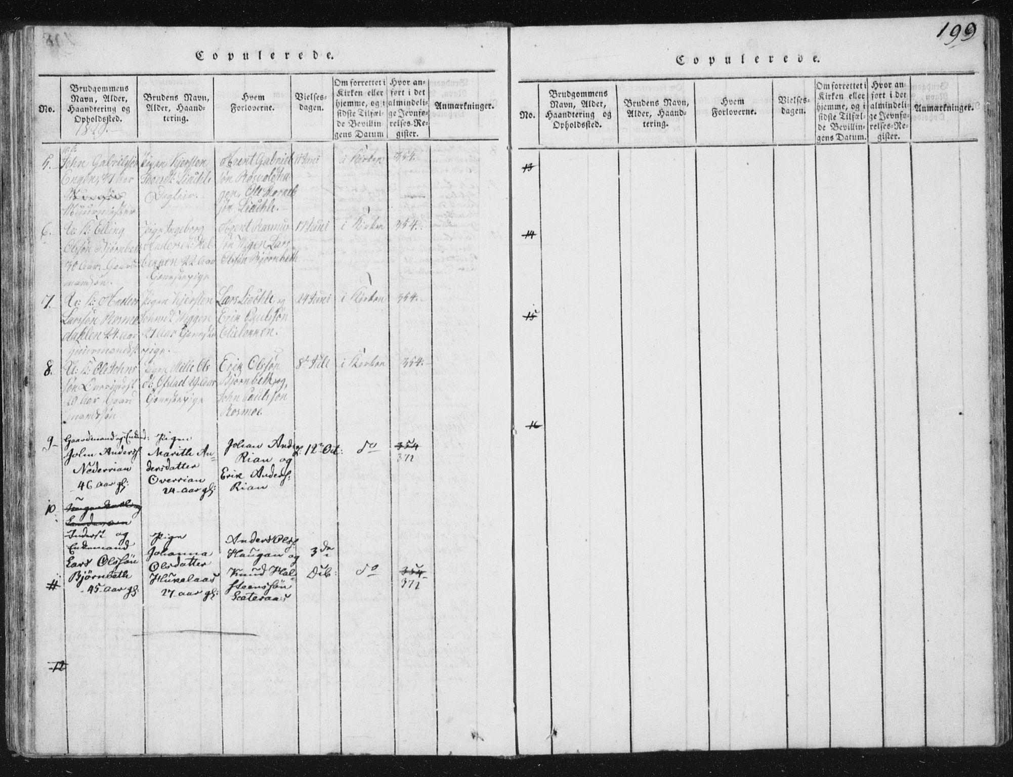 SAT, Ministerialprotokoller, klokkerbøker og fødselsregistre - Sør-Trøndelag, 665/L0770: Ministerialbok nr. 665A05, 1817-1829, s. 199