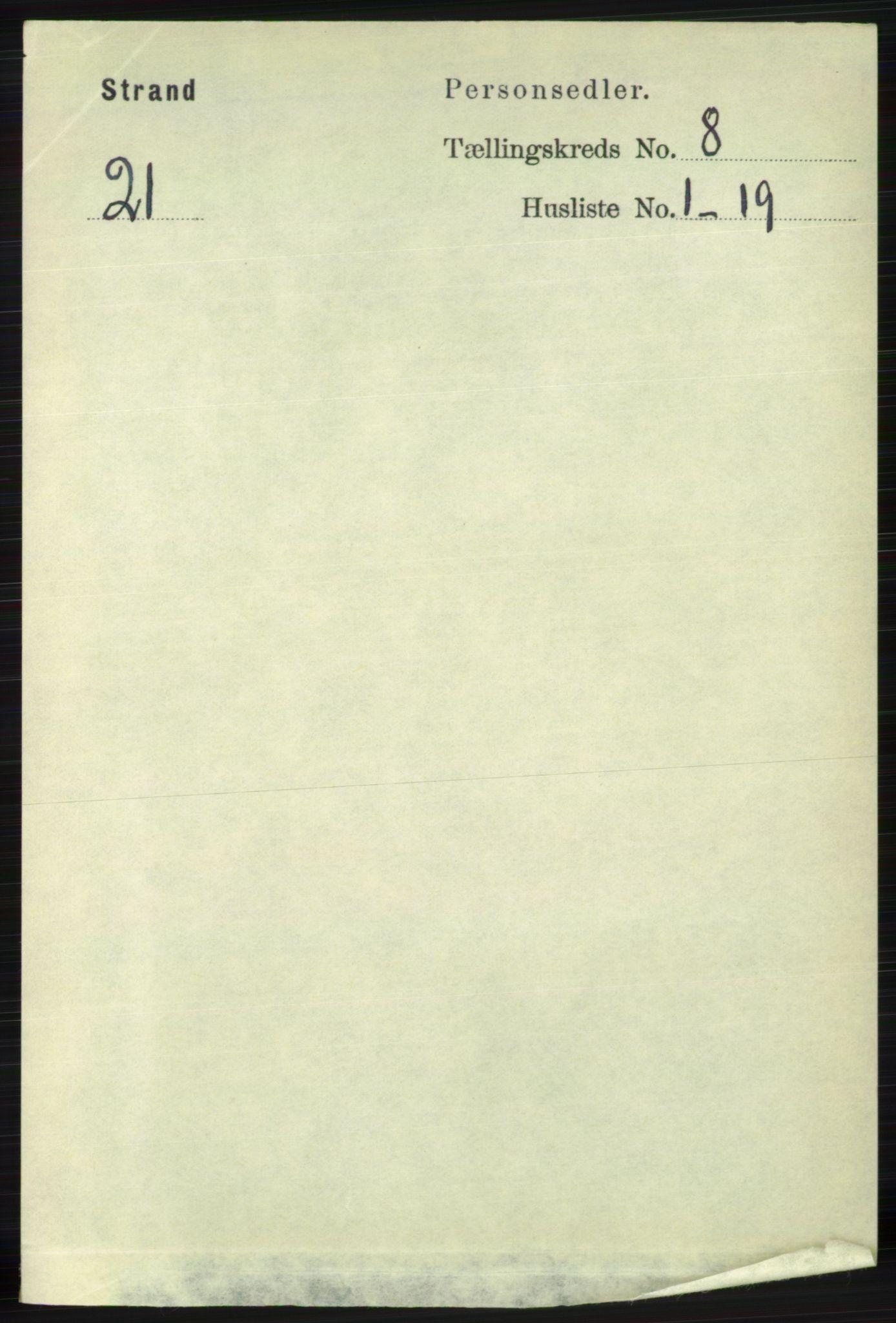 RA, Folketelling 1891 for 1130 Strand herred, 1891, s. 2501