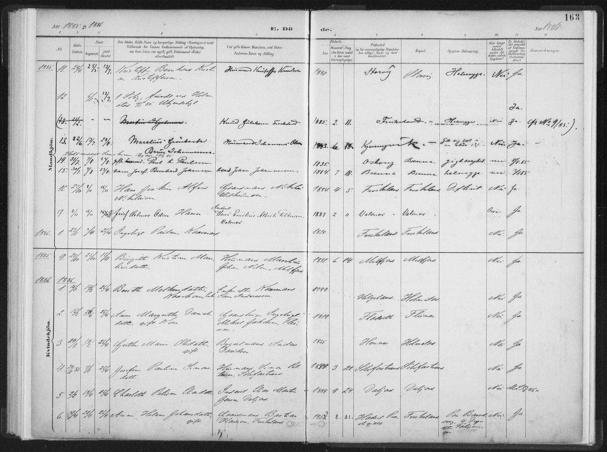 SAT, Ministerialprotokoller, klokkerbøker og fødselsregistre - Nordland, 890/L1286: Ministerialbok nr. 890A01, 1882-1902, s. 163