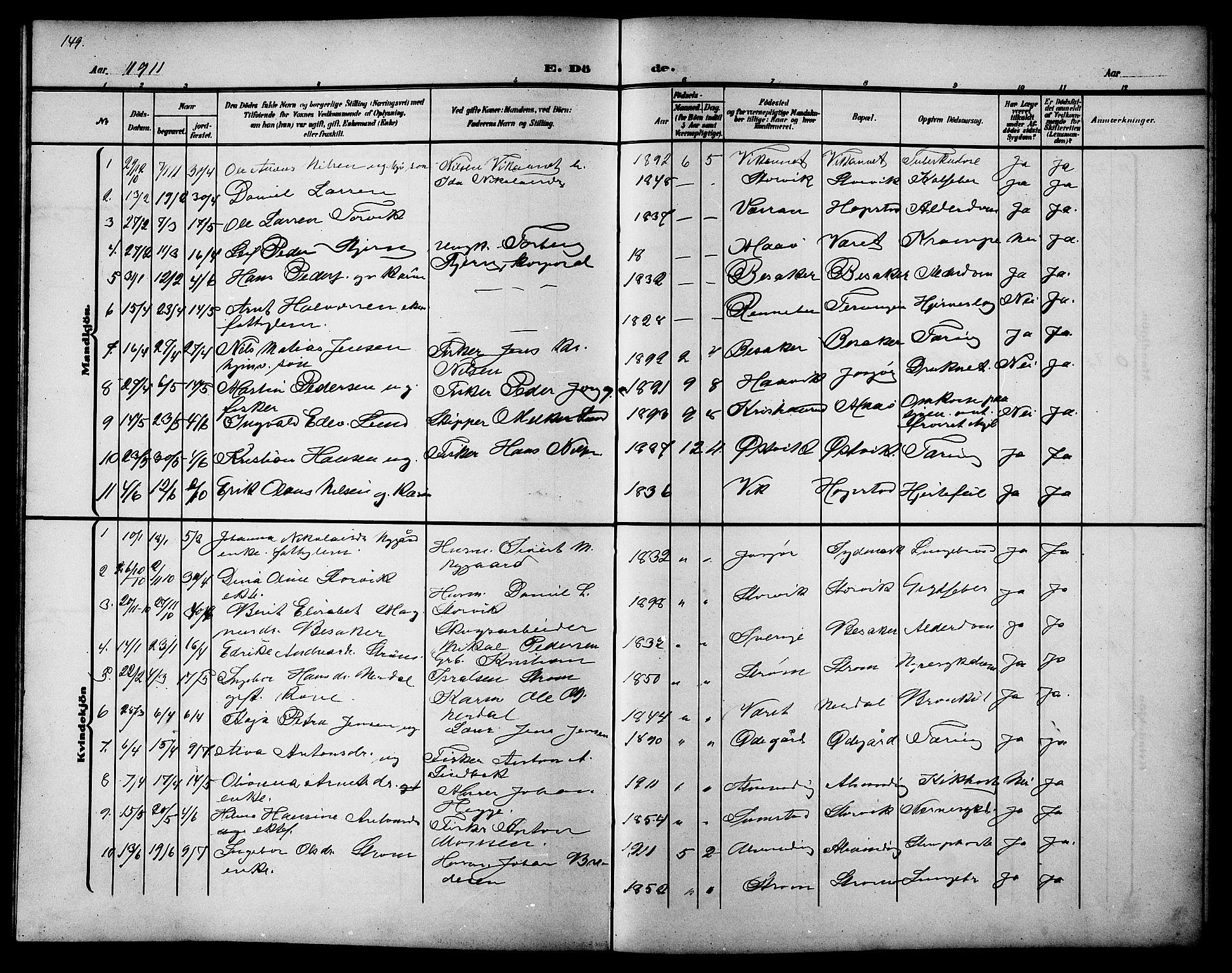 SAT, Ministerialprotokoller, klokkerbøker og fødselsregistre - Sør-Trøndelag, 657/L0717: Klokkerbok nr. 657C04, 1904-1923, s. 149