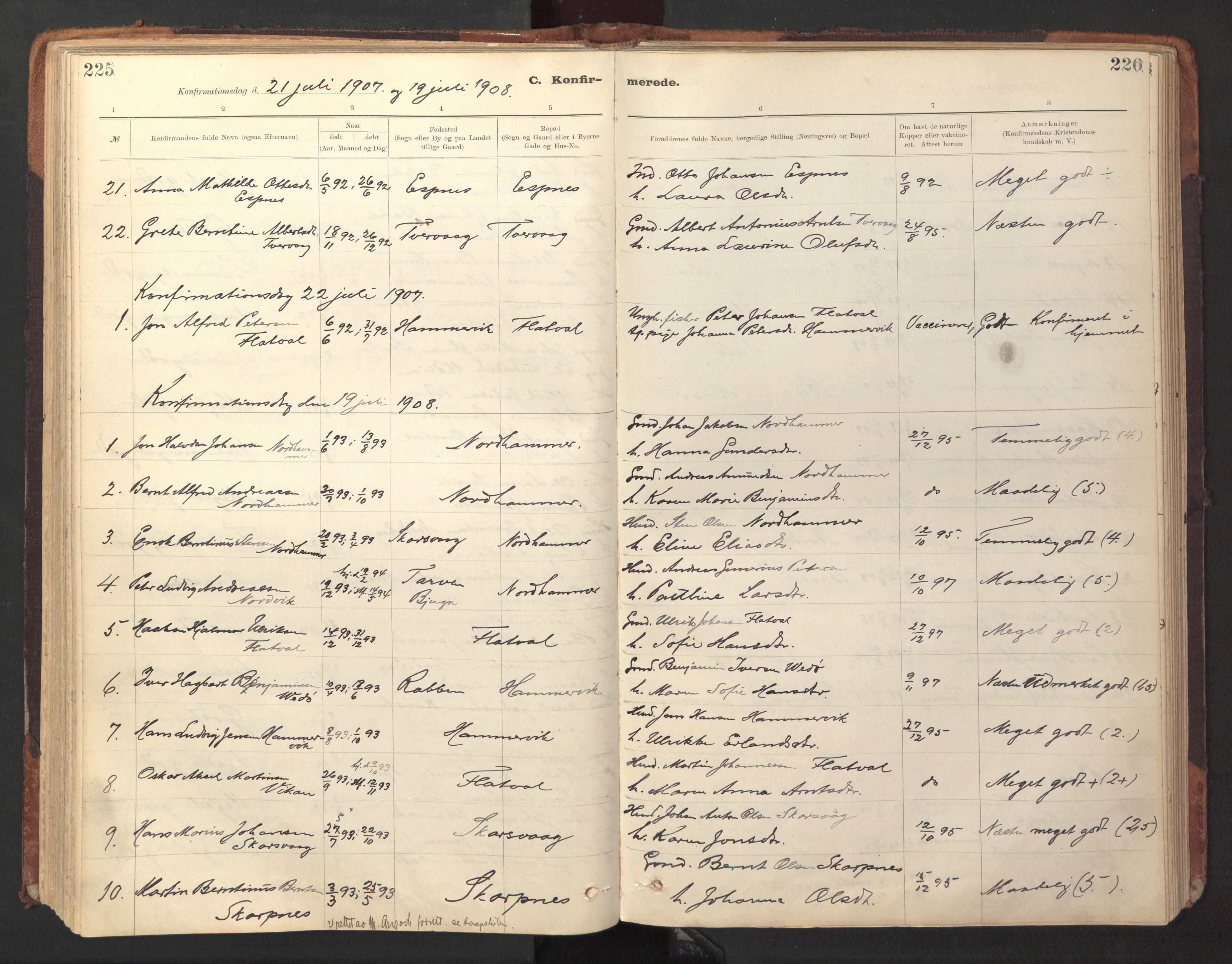 SAT, Ministerialprotokoller, klokkerbøker og fødselsregistre - Sør-Trøndelag, 641/L0596: Ministerialbok nr. 641A02, 1898-1915, s. 225-226