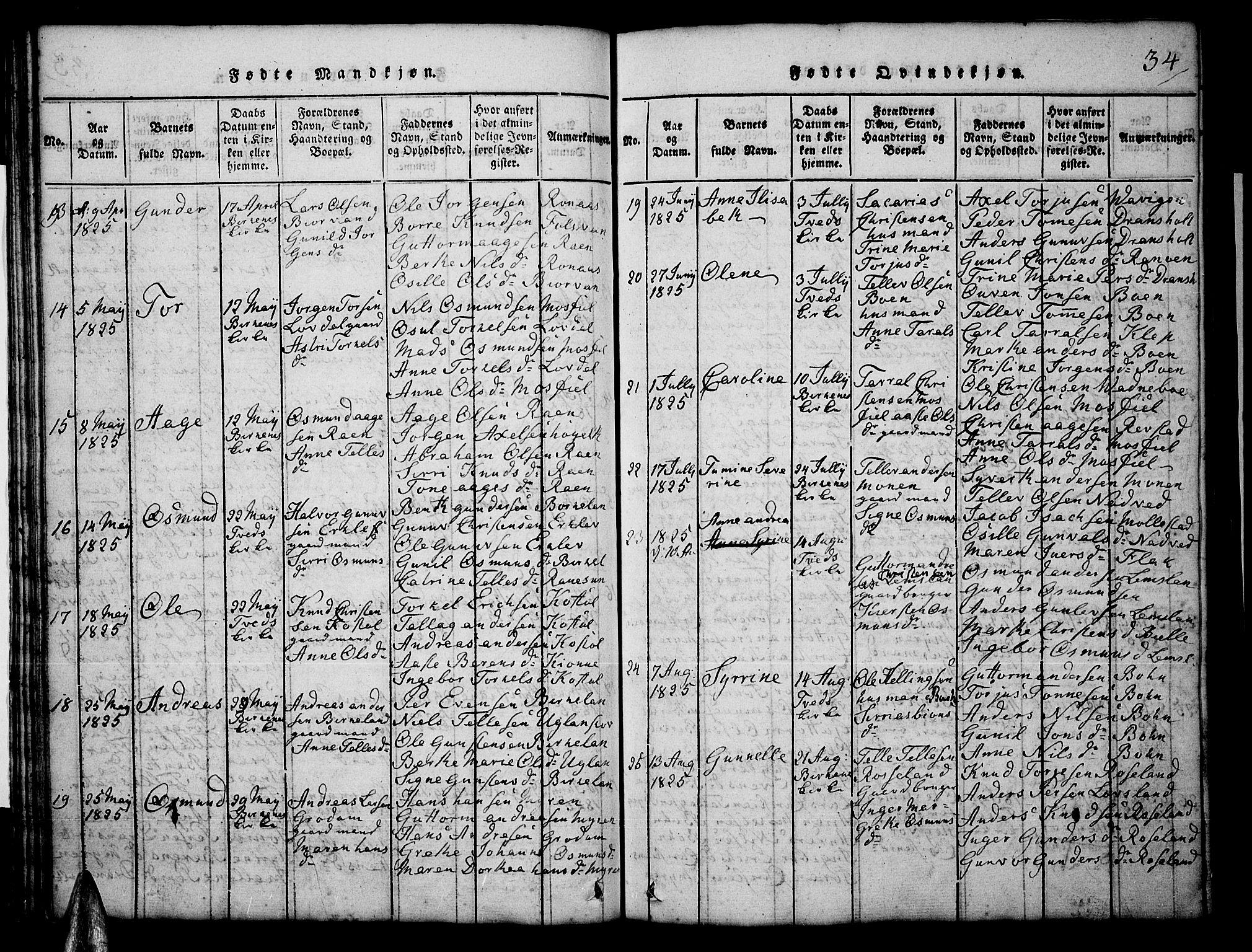 SAK, Tveit sokneprestkontor, F/Fb/L0001: Klokkerbok nr. B 1, 1820-1834, s. 34