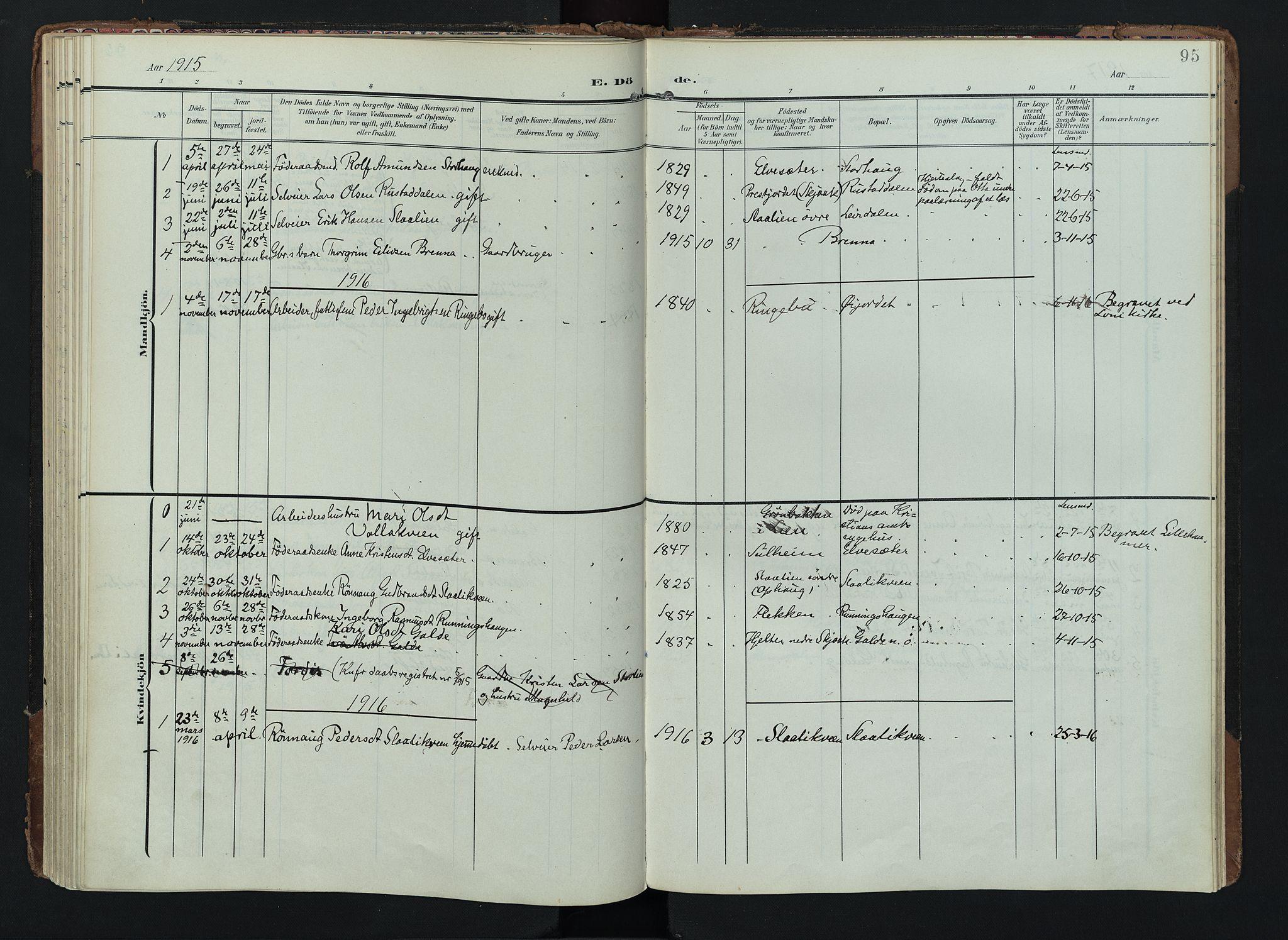 SAH, Lom prestekontor, K/L0012: Ministerialbok nr. 12, 1904-1928, s. 95