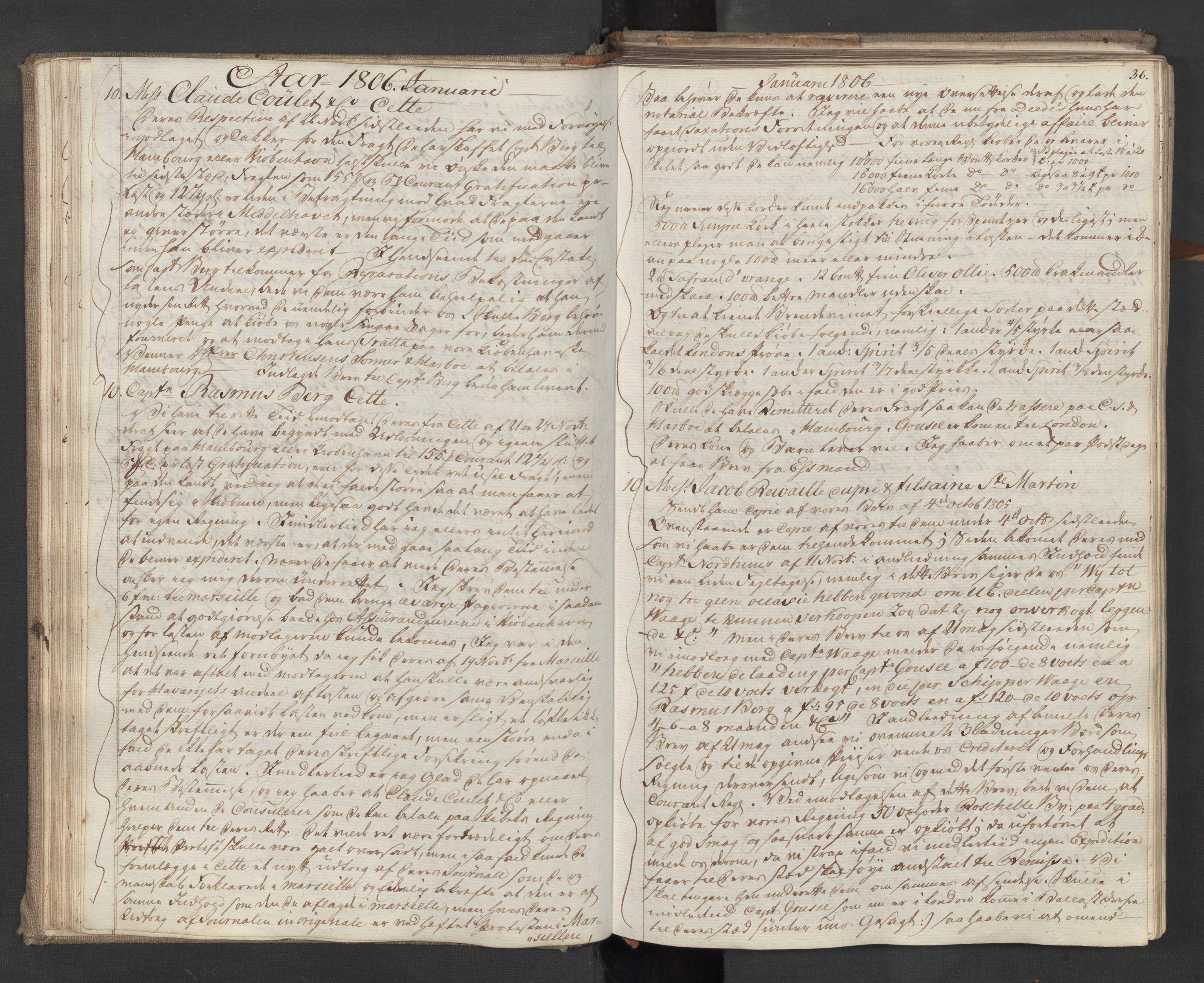 SAST, Pa 0003 - Ploug & Sundt, handelshuset, B/L0009: Kopibok, 1805-1816, s. 35b-36a