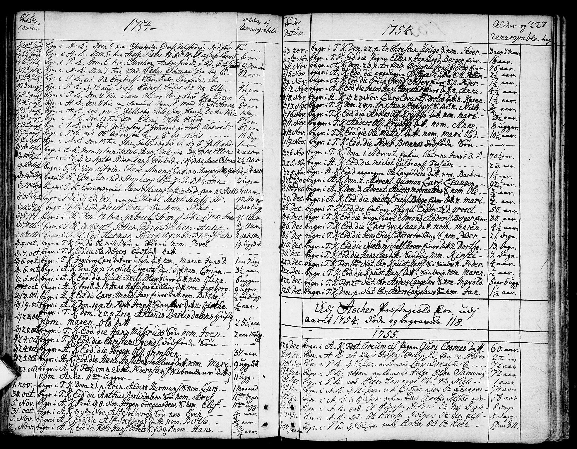 SAO, Asker prestekontor Kirkebøker, F/Fa/L0002: Ministerialbok nr. I 2, 1733-1766, s. 227