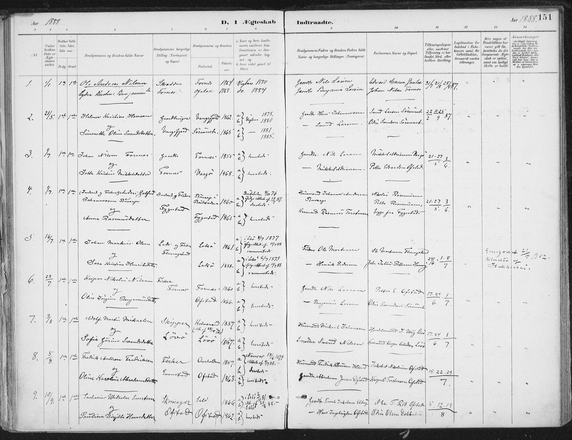 SAT, Ministerialprotokoller, klokkerbøker og fødselsregistre - Nord-Trøndelag, 786/L0687: Ministerialbok nr. 786A03, 1888-1898, s. 151