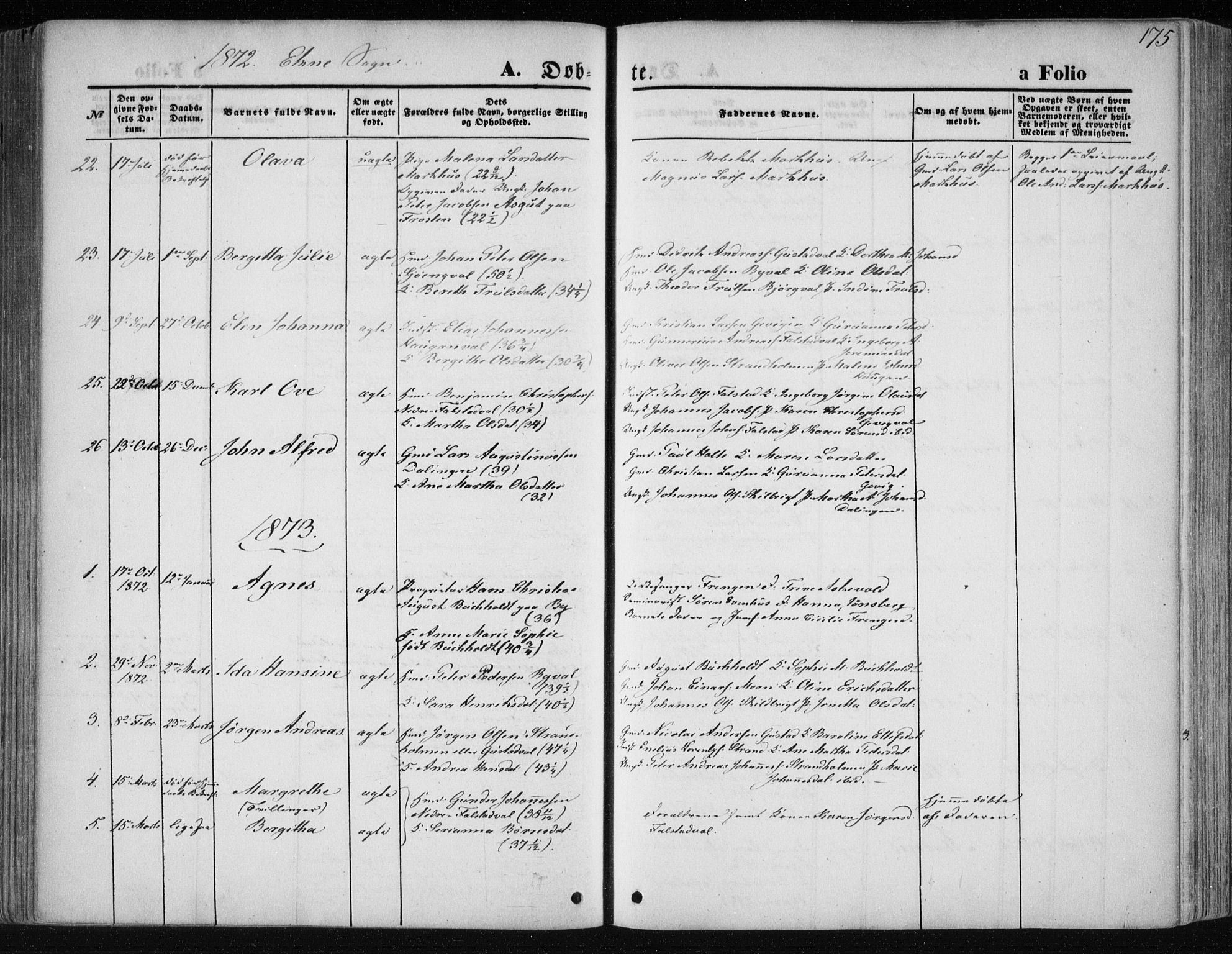 SAT, Ministerialprotokoller, klokkerbøker og fødselsregistre - Nord-Trøndelag, 717/L0158: Ministerialbok nr. 717A08 /2, 1863-1877, s. 175