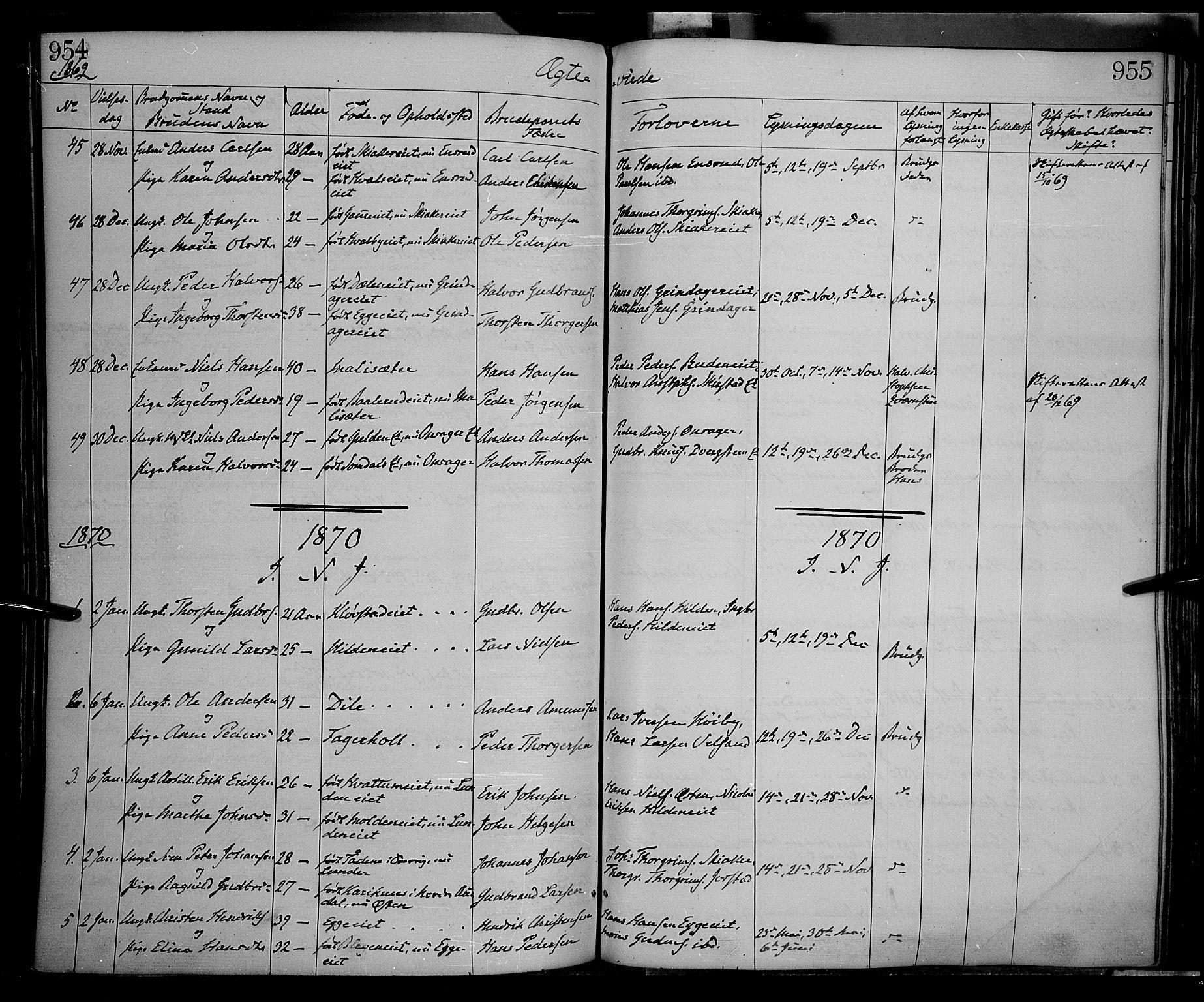 SAH, Gran prestekontor, Ministerialbok nr. 12, 1856-1874, s. 954-955