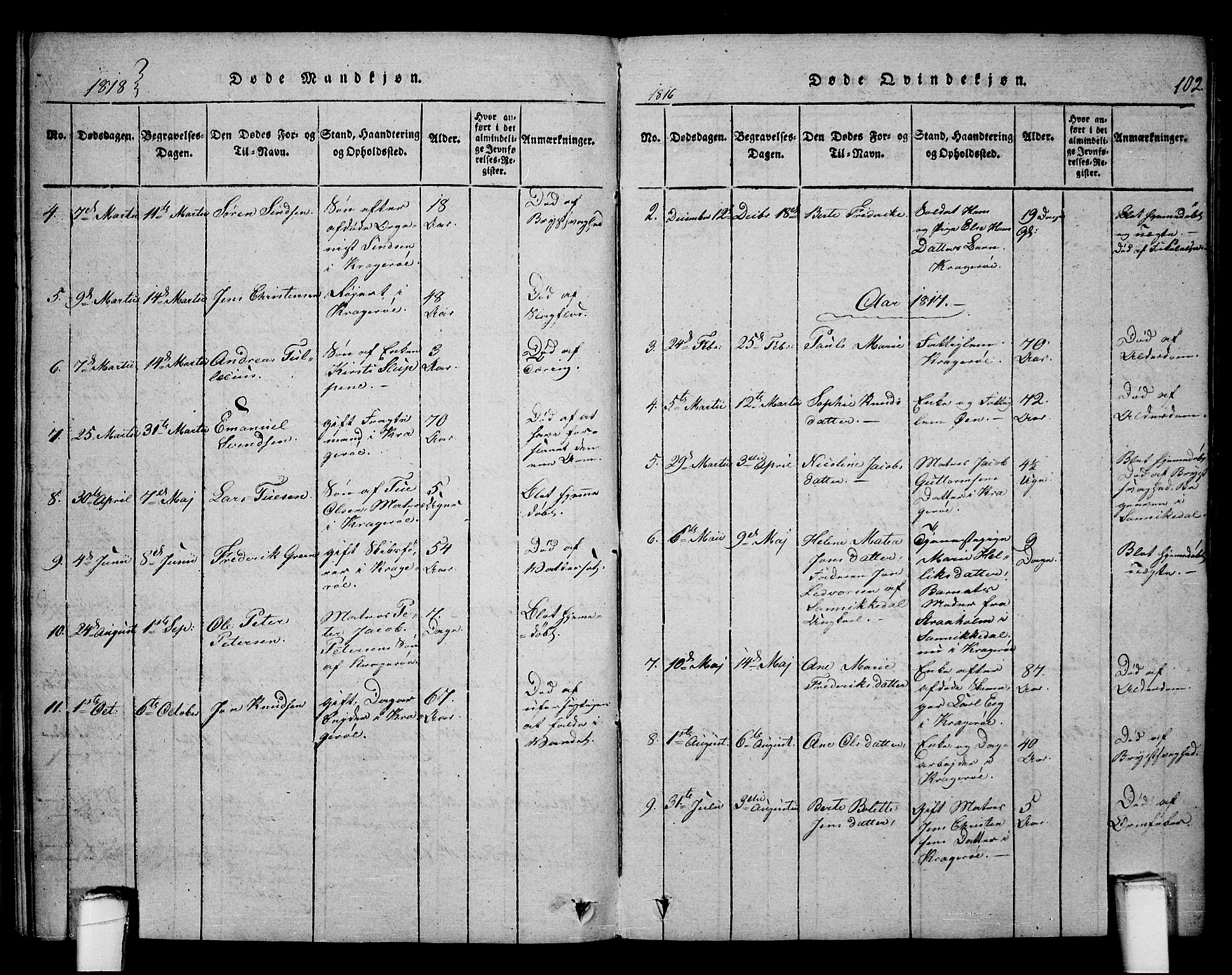 SAKO, Kragerø kirkebøker, F/Fa/L0004: Ministerialbok nr. 4, 1814-1831, s. 102