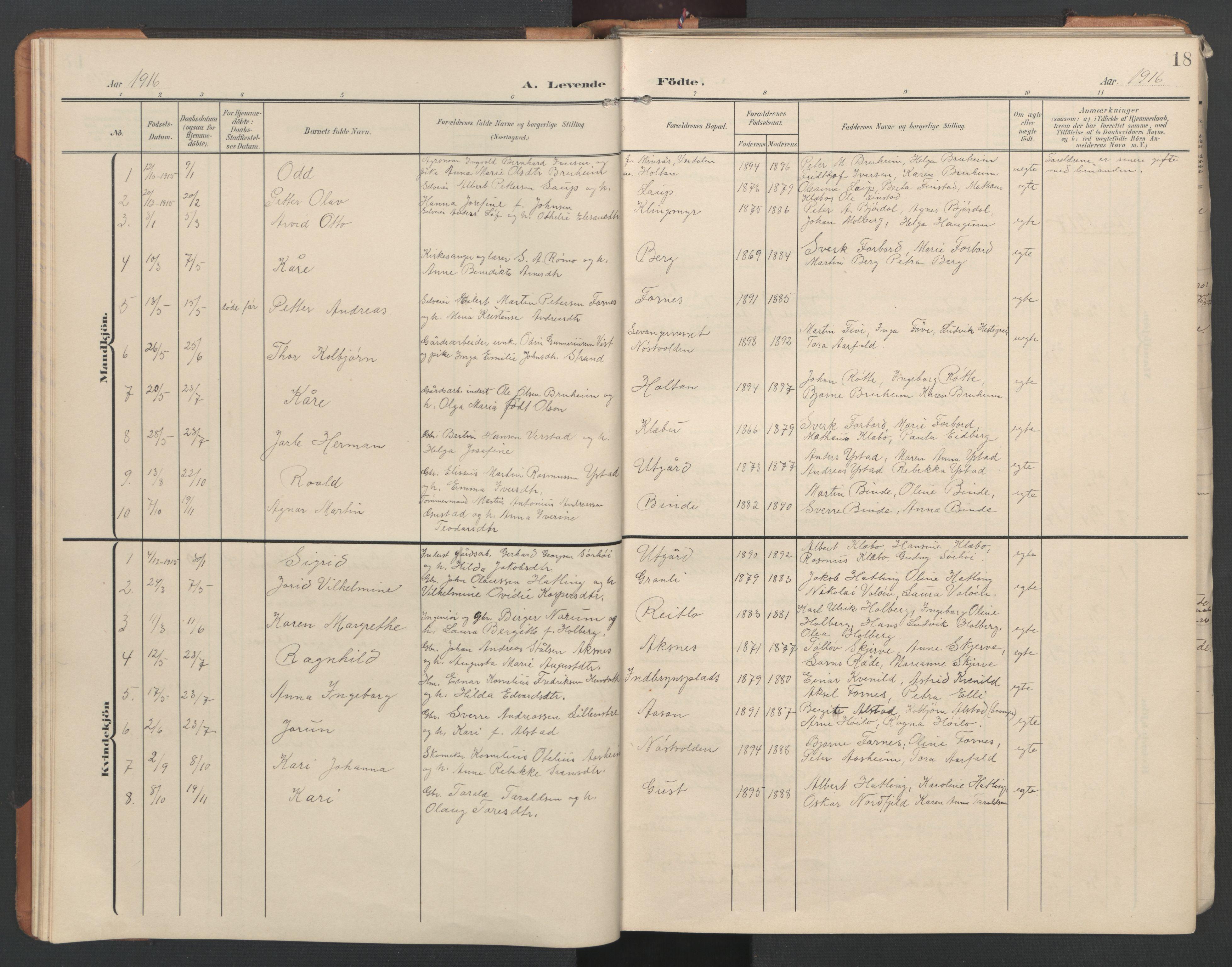 SAT, Ministerialprotokoller, klokkerbøker og fødselsregistre - Nord-Trøndelag, 746/L0455: Klokkerbok nr. 746C01, 1908-1933, s. 18