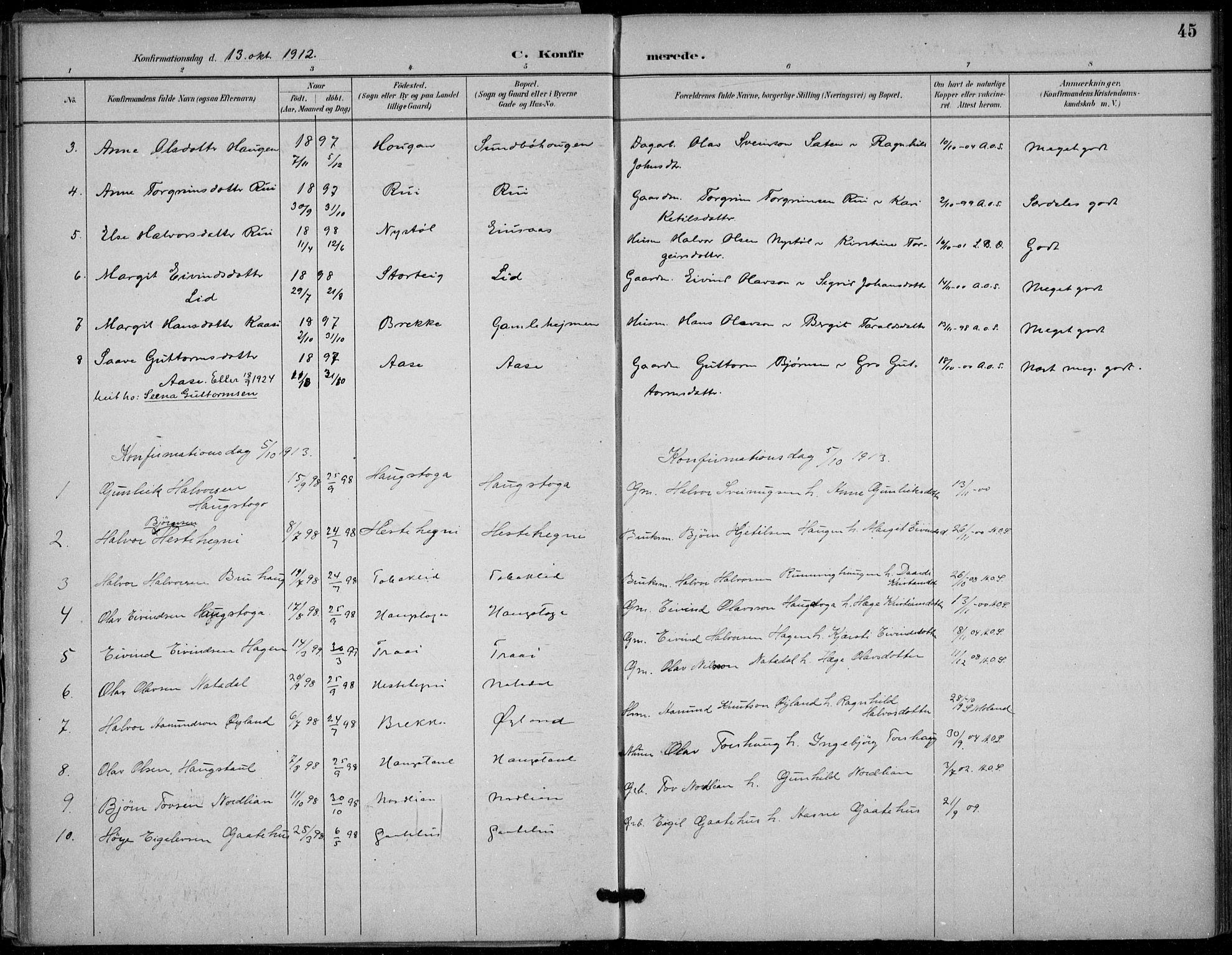 SAKO, Seljord kirkebøker, F/Fb/L0002: Ministerialbok nr. II 2, 1887-1917, s. 45