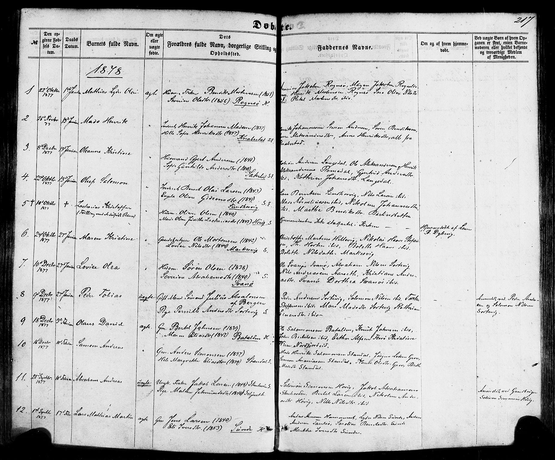 SAB, Kinn sokneprestembete, H/Haa/Haaa/L0006: Ministerialbok nr. A 6, 1857-1885, s. 217