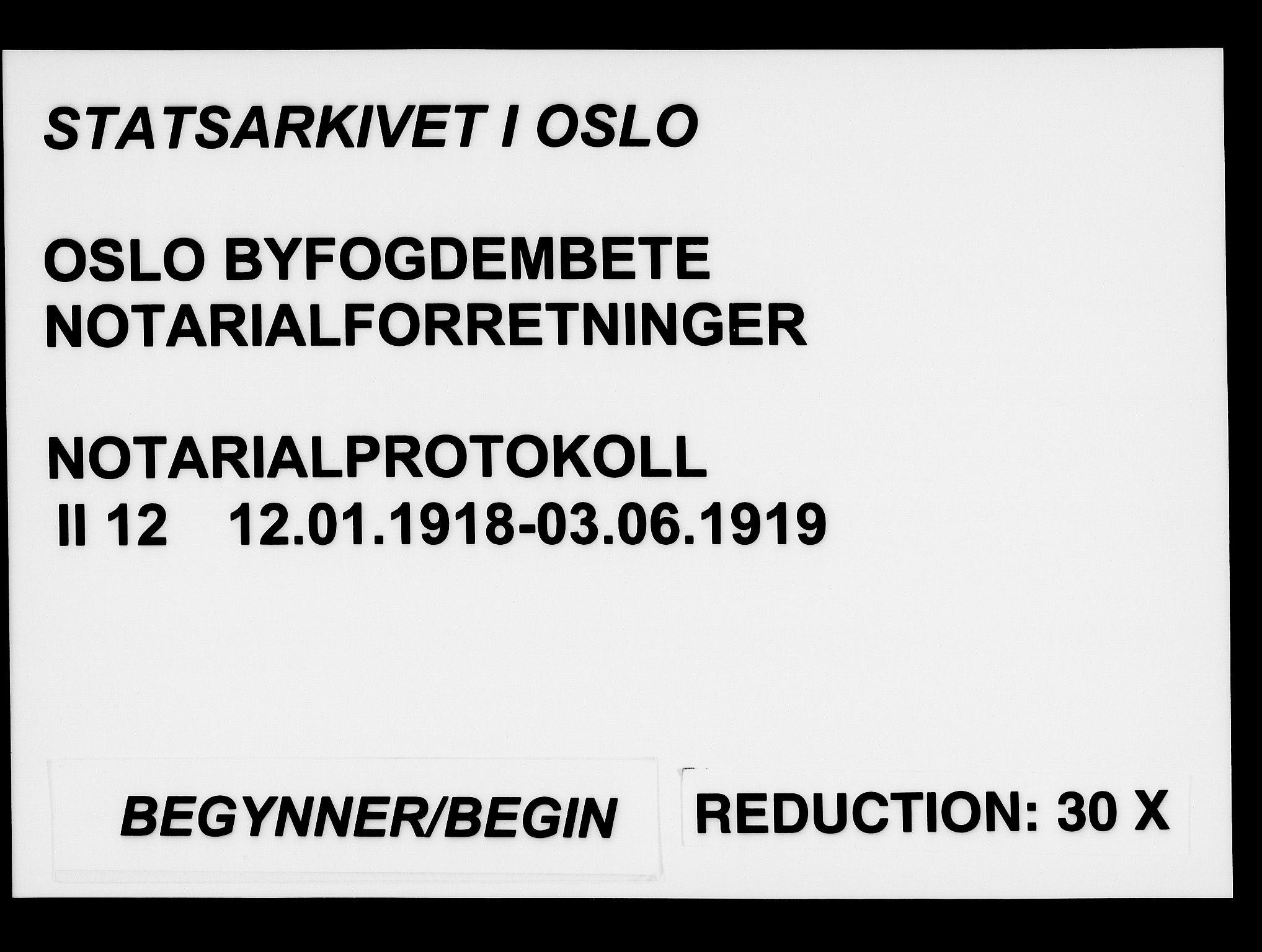 SAO, Oslo byfogd avd. I, L/Lb/Lbb/L0012: Notarialprotokoll, rekke II: Vigsler, 1918-1919, s. upaginert