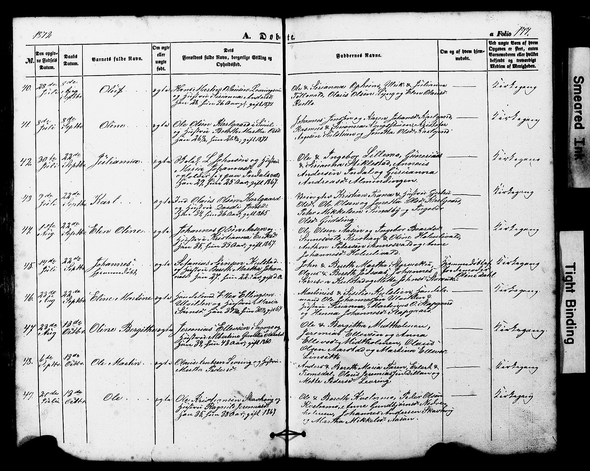 SAT, Ministerialprotokoller, klokkerbøker og fødselsregistre - Nord-Trøndelag, 724/L0268: Klokkerbok nr. 724C04, 1846-1878, s. 177