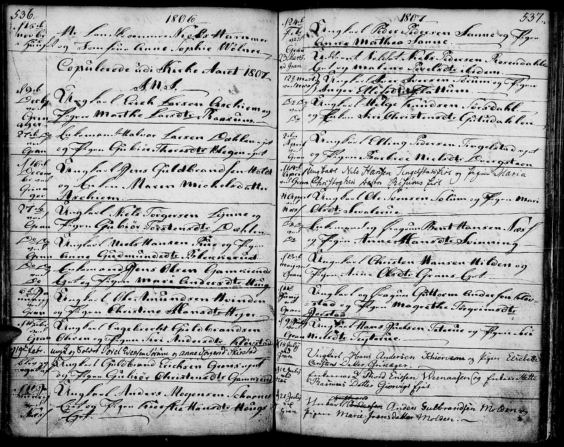 SAH, Gran prestekontor, Ministerialbok nr. 6, 1787-1824, s. 536-537