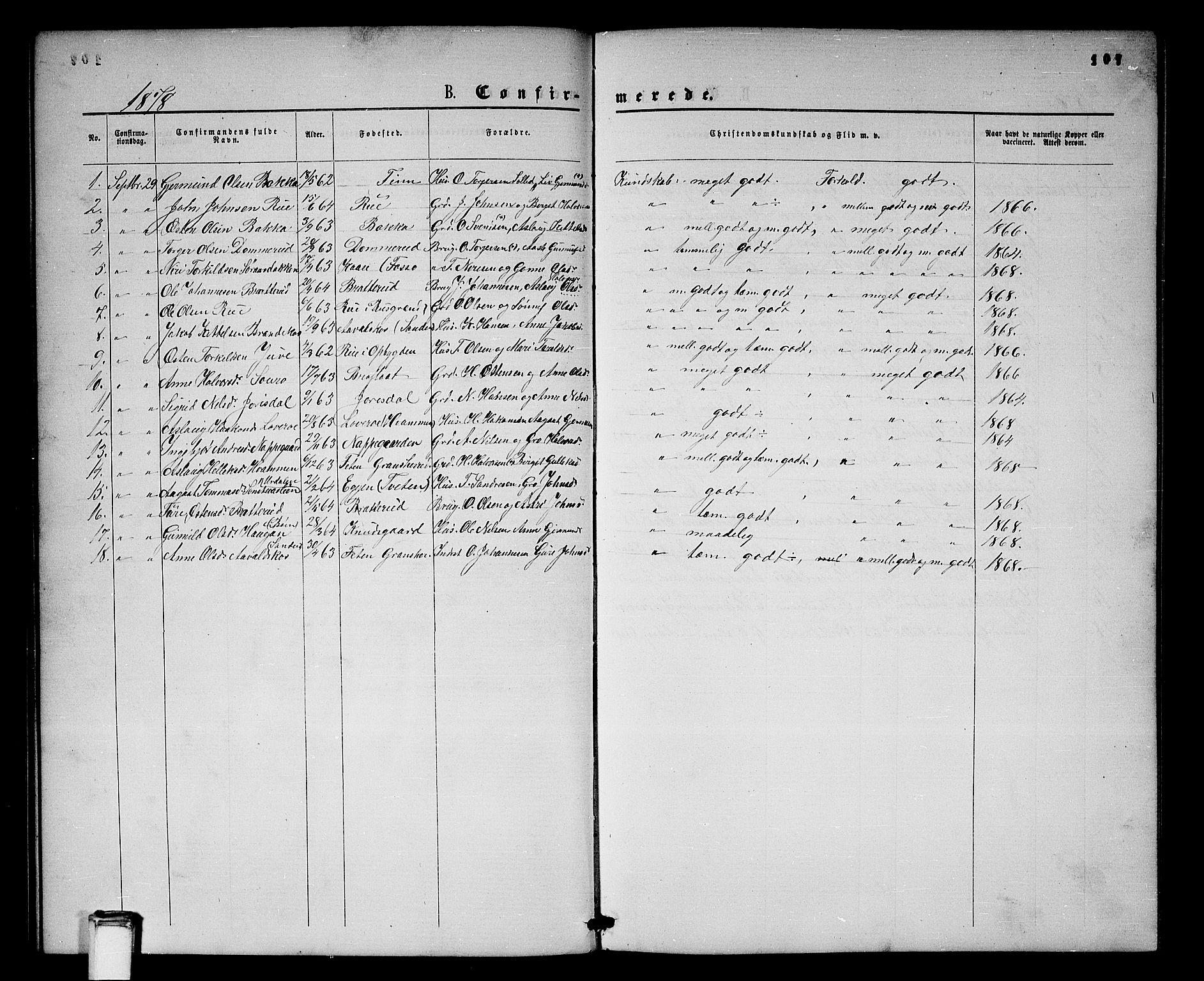 SAKO, Gransherad kirkebøker, G/Gb/L0002: Klokkerbok nr. II 2, 1860-1886, s. 107
