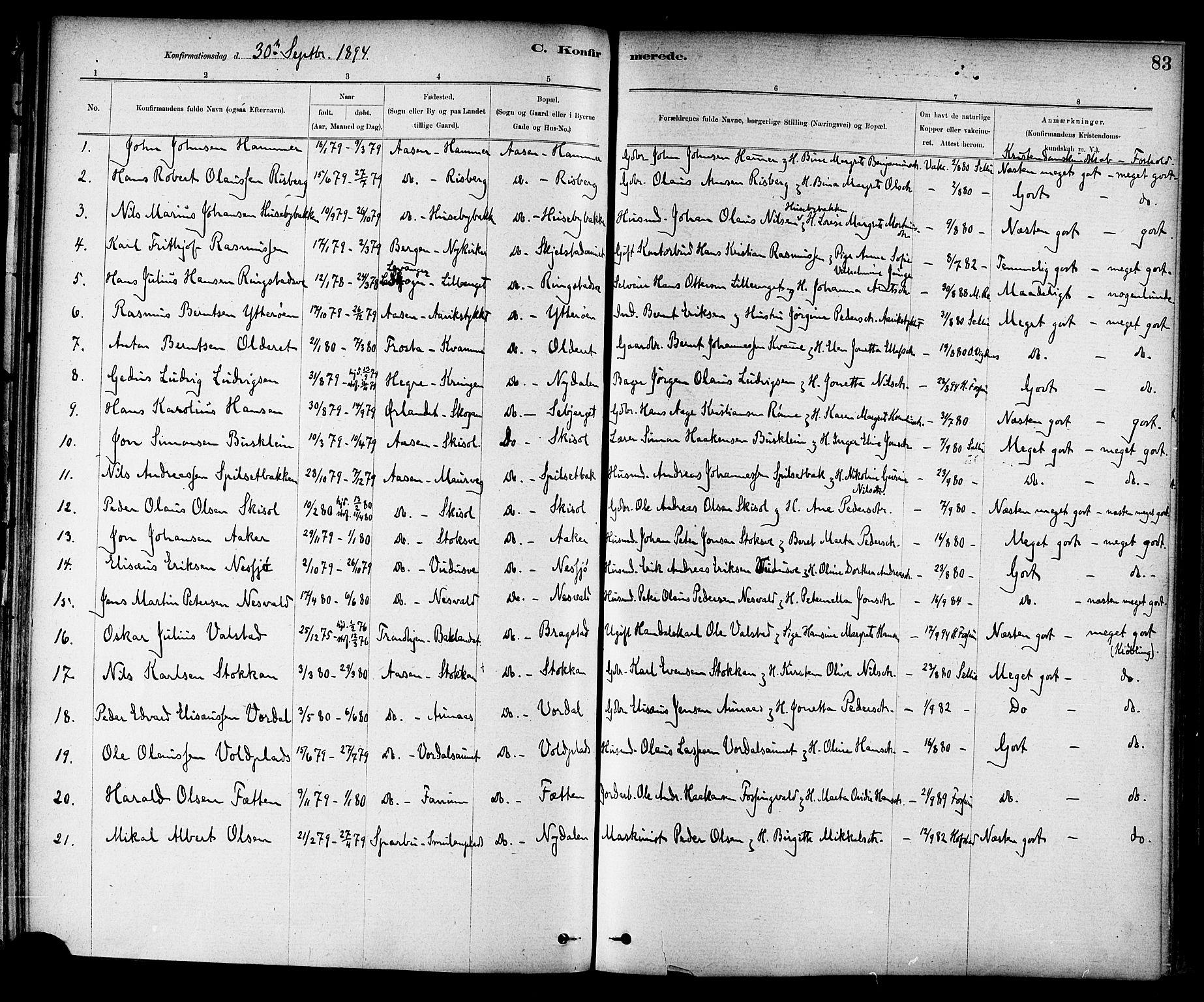 SAT, Ministerialprotokoller, klokkerbøker og fødselsregistre - Nord-Trøndelag, 714/L0130: Ministerialbok nr. 714A01, 1878-1895, s. 83