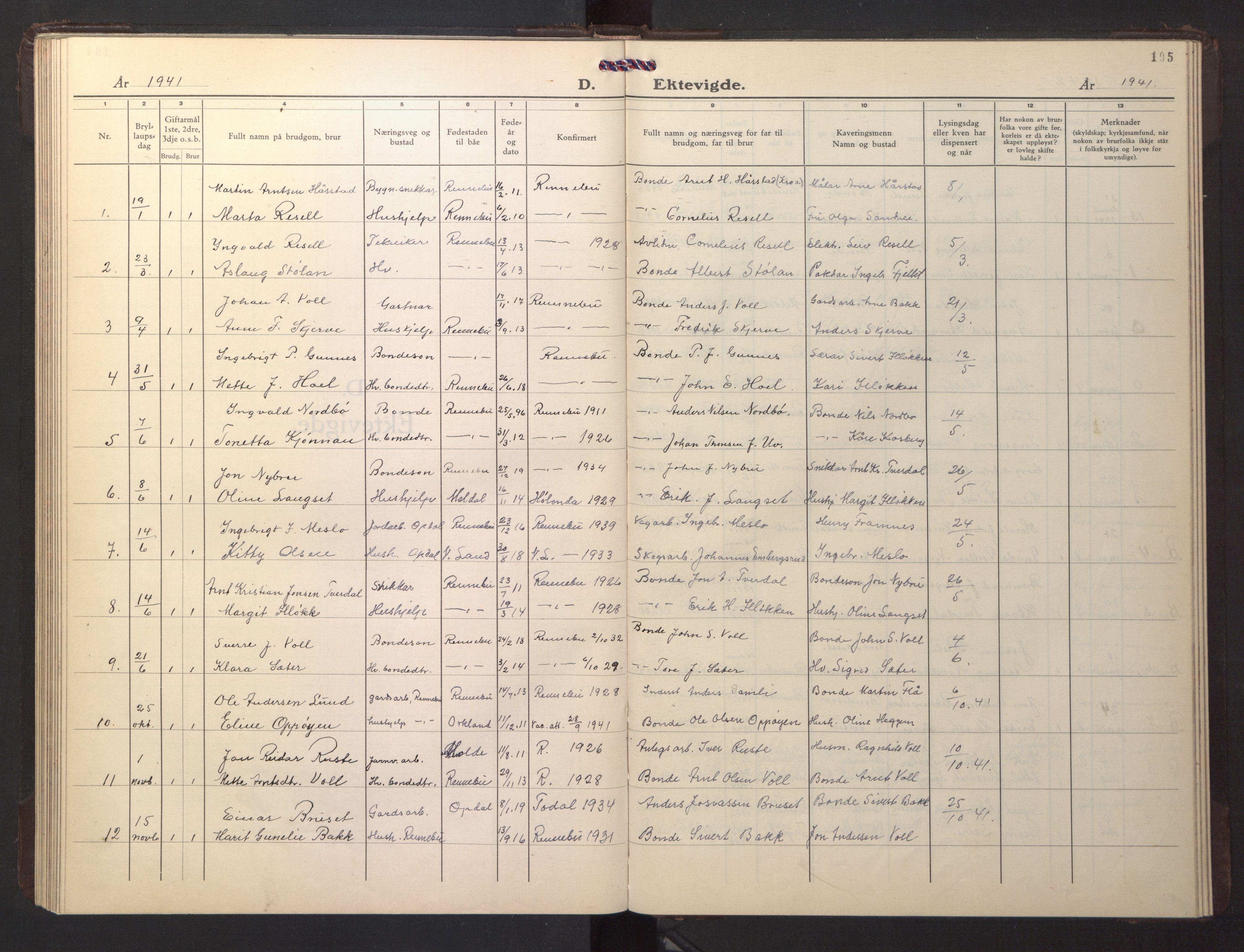SAT, Ministerialprotokoller, klokkerbøker og fødselsregistre - Sør-Trøndelag, 674/L0878: Klokkerbok nr. 674C05, 1941-1950, s. 105