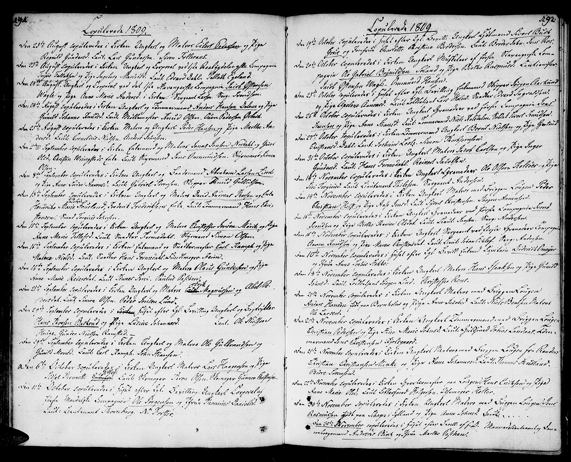 SAK, Kristiansand domprosti, F/Fa/L0005: Ministerialbok nr. A 5, 1776-1818, s. 191-192