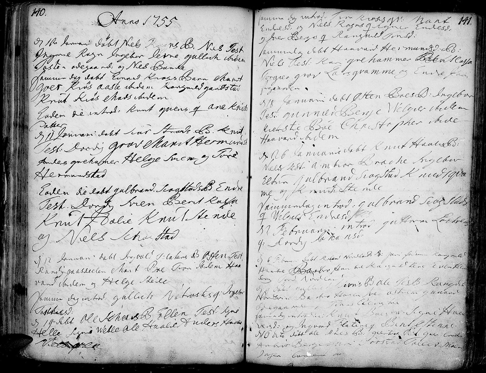 SAH, Vang prestekontor, Valdres, Ministerialbok nr. 1, 1730-1796, s. 140-141