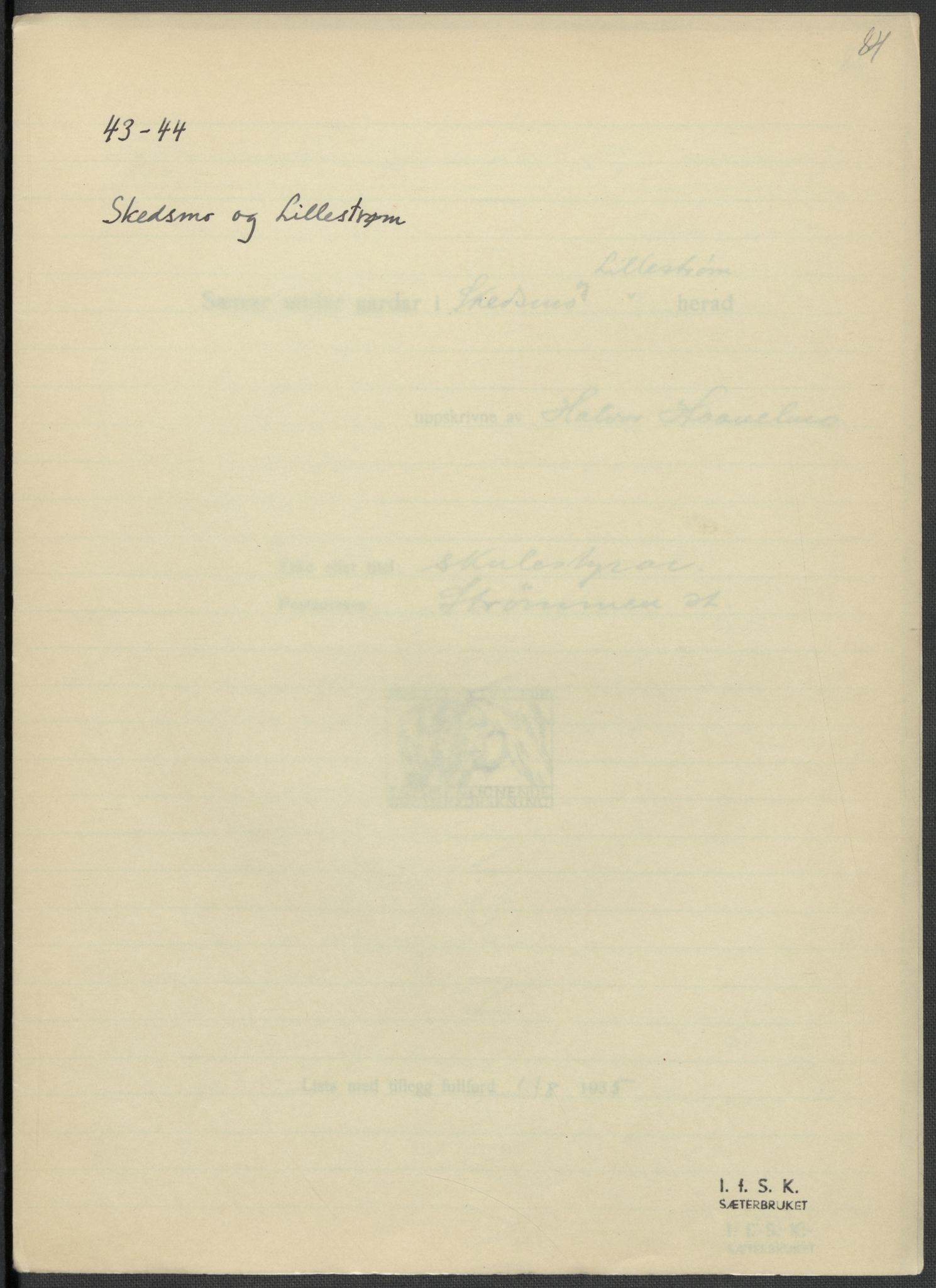 RA, Instituttet for sammenlignende kulturforskning, F/Fc/L0002: Eske B2:, 1932-1936, s. 84