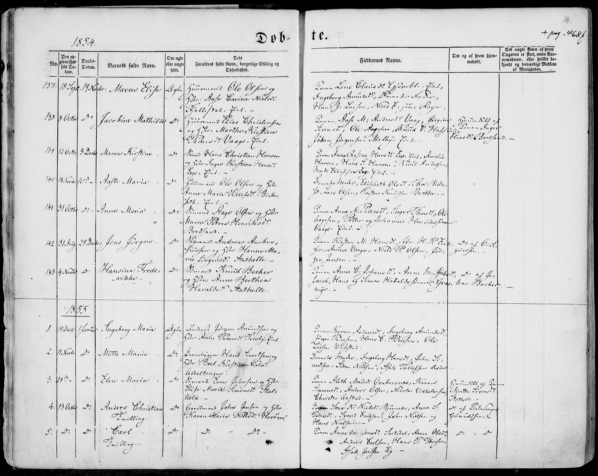 SAKO, Bamble kirkebøker, F/Fa/L0005: Ministerialbok nr. I 5, 1854-1869, s. 14