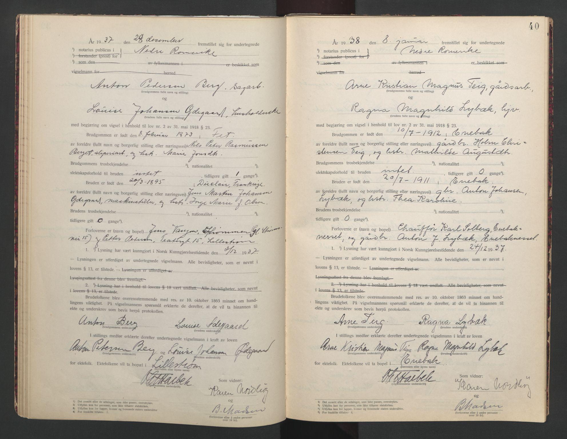 SAO, Nedre Romerike sorenskriveri, L/Lb/L0002: Vigselsbok - borgerlige vielser, 1935-1942, s. 40