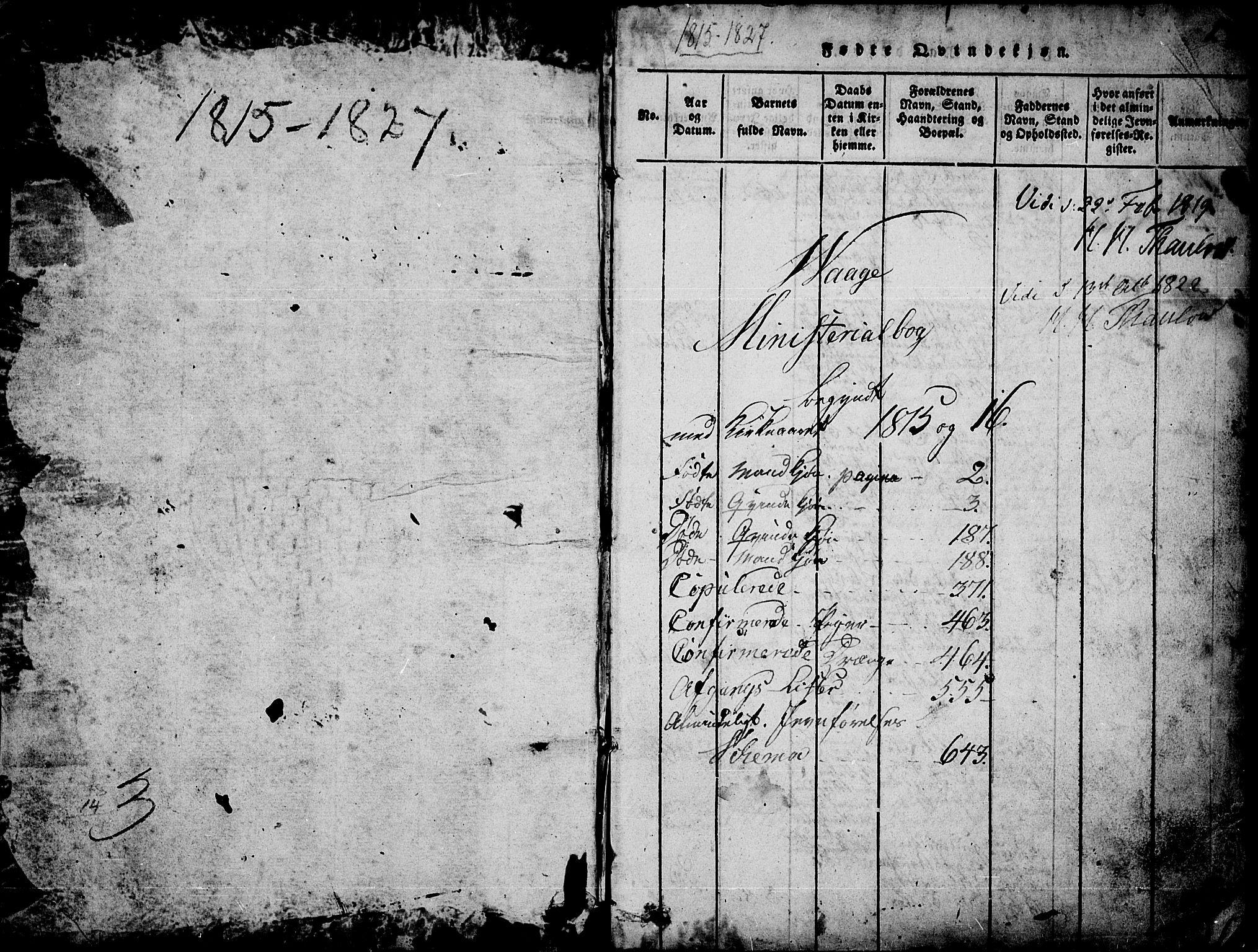 SAH, Vågå prestekontor, Ministerialbok nr. 3, 1815-1827, s. 0-1