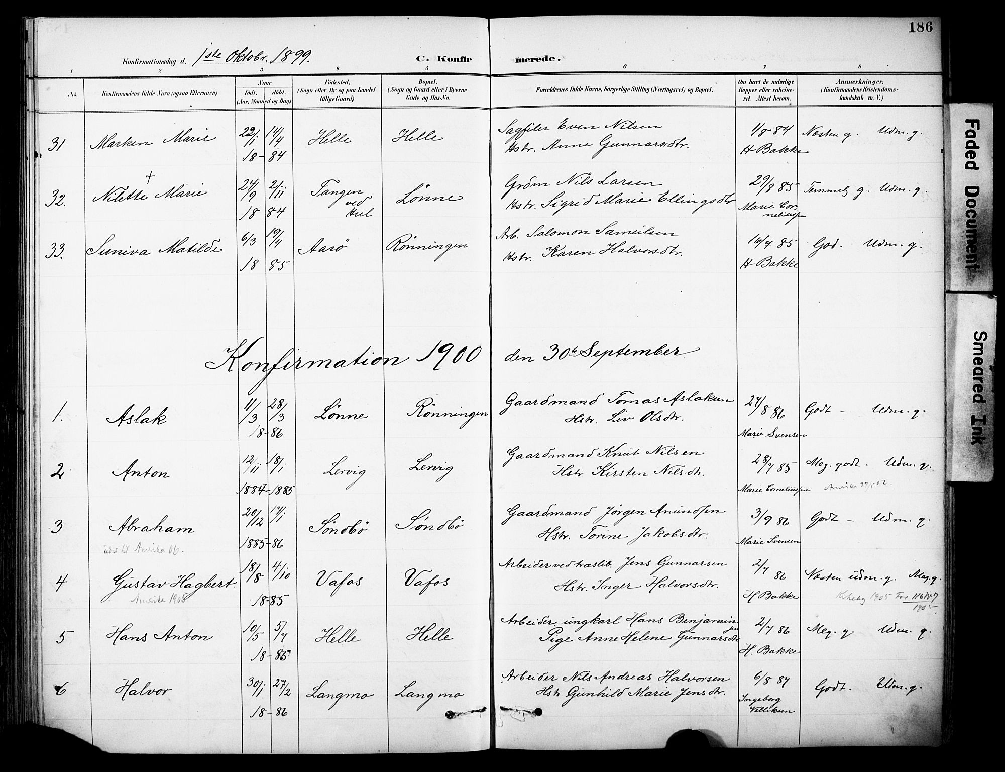 SAKO, Sannidal kirkebøker, F/Fa/L0016: Ministerialbok nr. 16, 1895-1911, s. 186