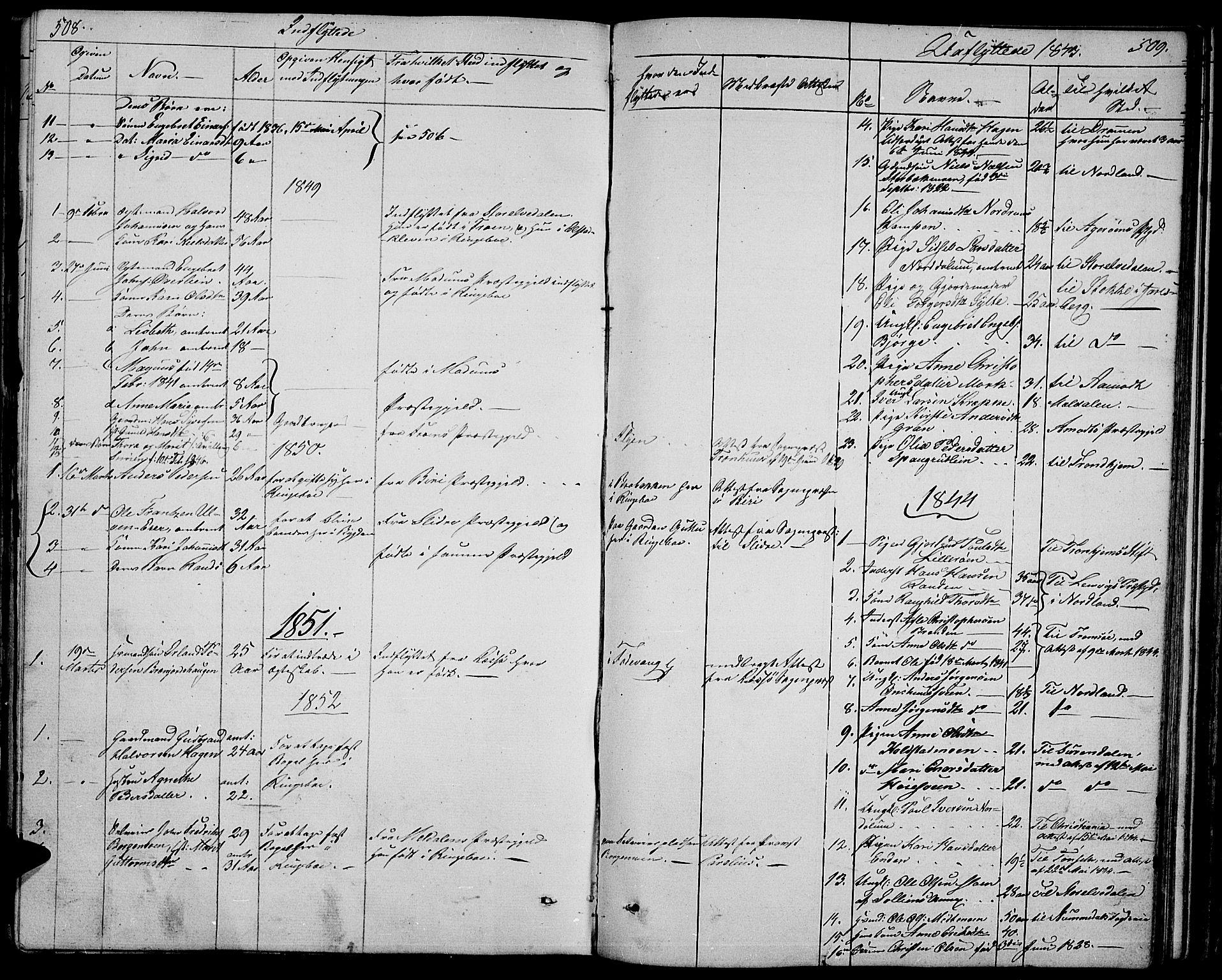 SAH, Ringebu prestekontor, Klokkerbok nr. 2, 1839-1853, s. 508-509