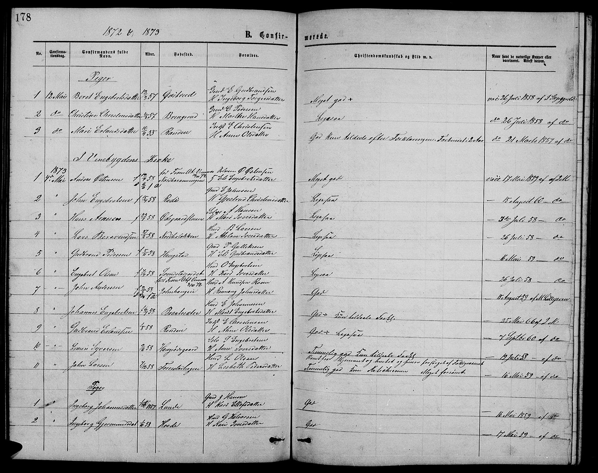 SAH, Ringebu prestekontor, Klokkerbok nr. 4, 1867-1879, s. 178