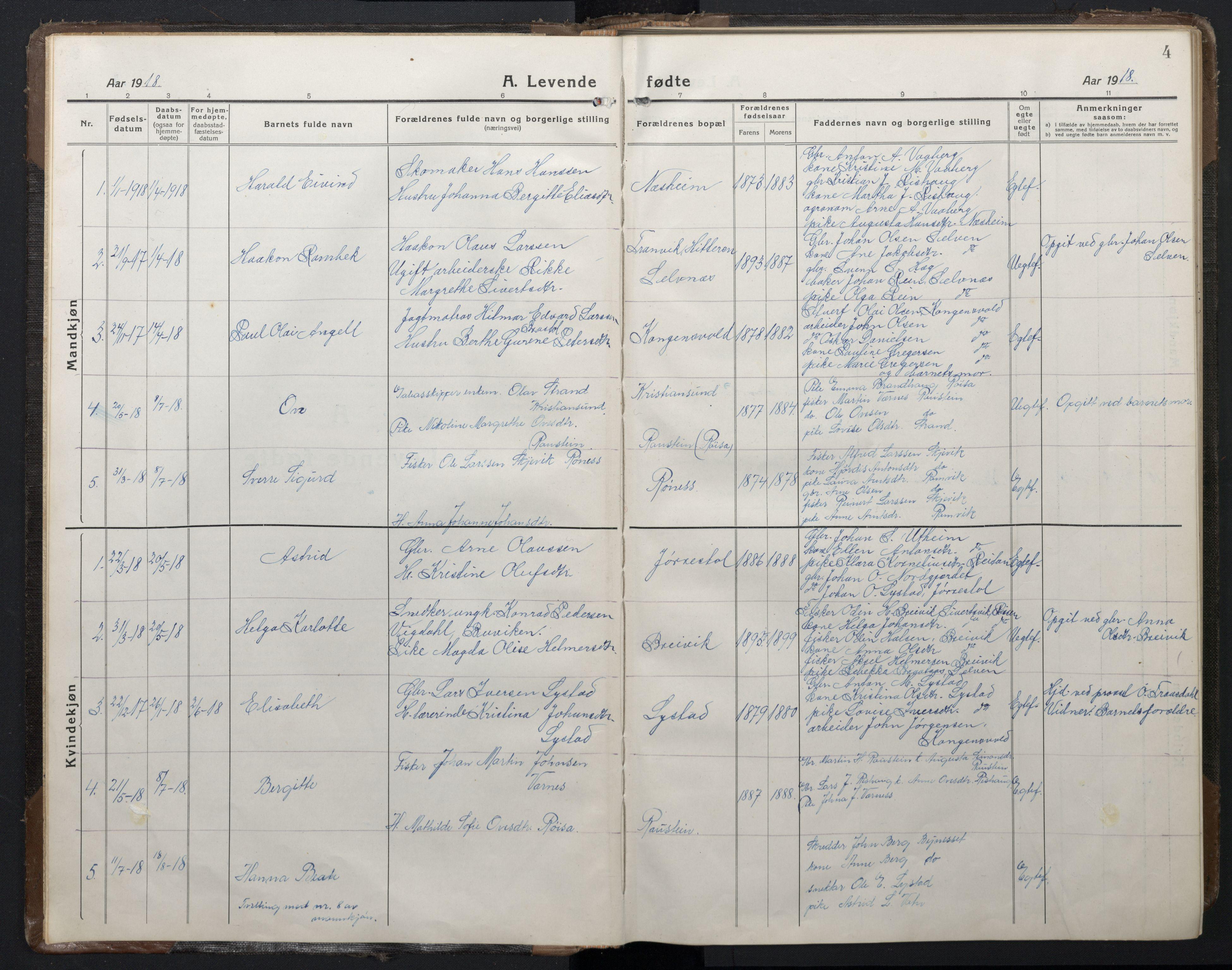 SAT, Ministerialprotokoller, klokkerbøker og fødselsregistre - Sør-Trøndelag, 662/L0758: Klokkerbok nr. 662C03, 1918-1948, s. 4