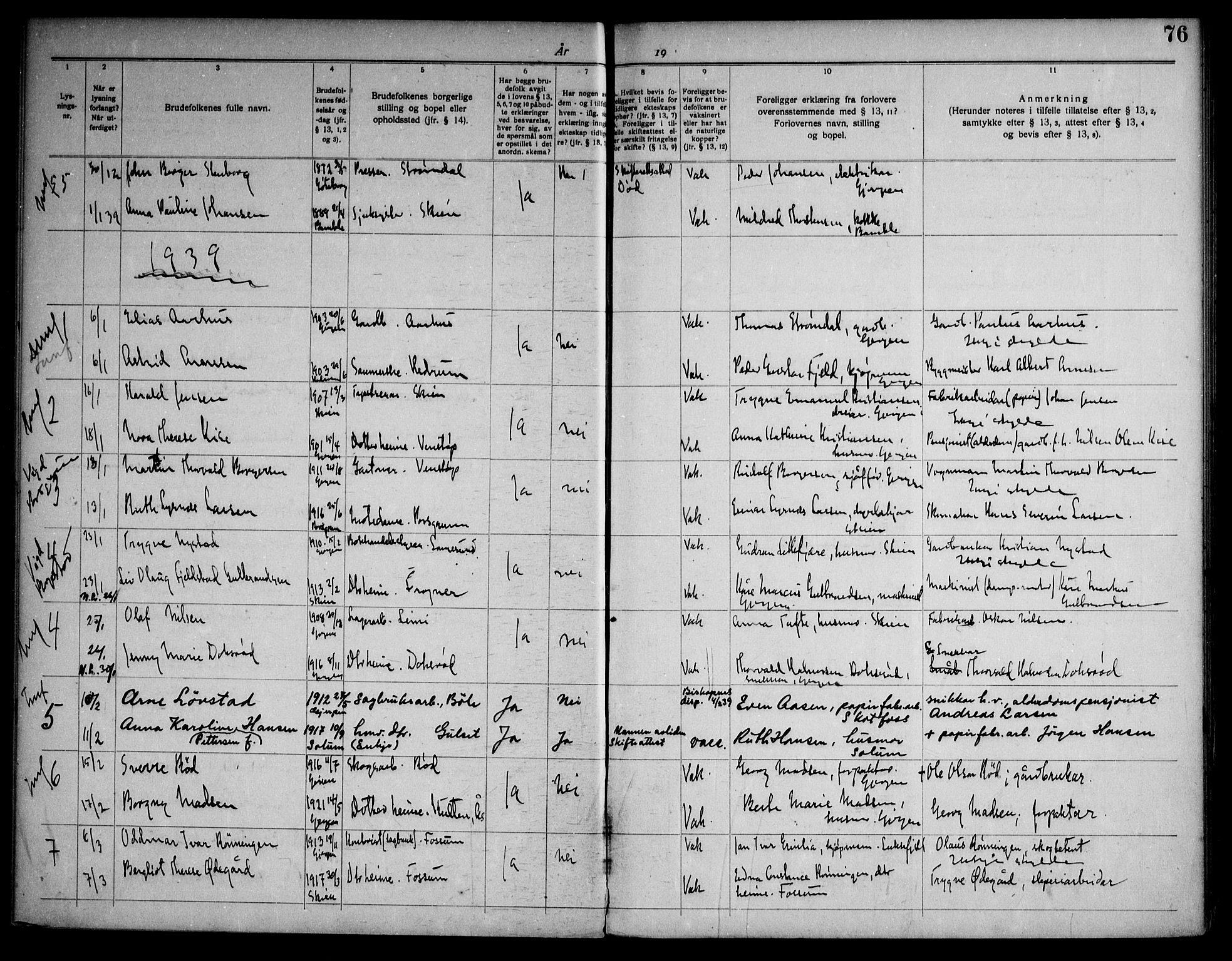 SAKO, Gjerpen kirkebøker, H/Ha/L0003: Lysningsprotokoll nr. I 3, 1919-1946, s. 76