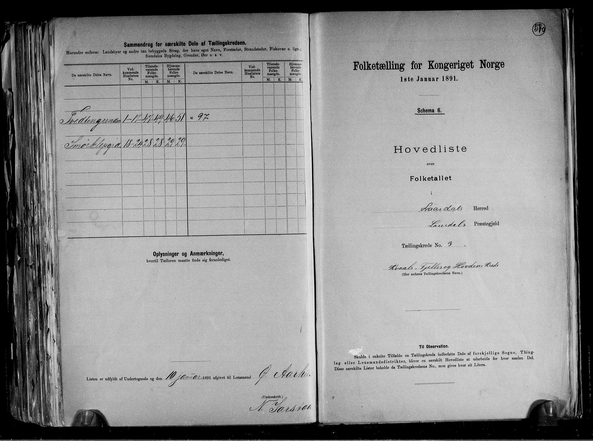 RA, Folketelling 1891 for 0833 Lårdal herred, 1891, s. 8