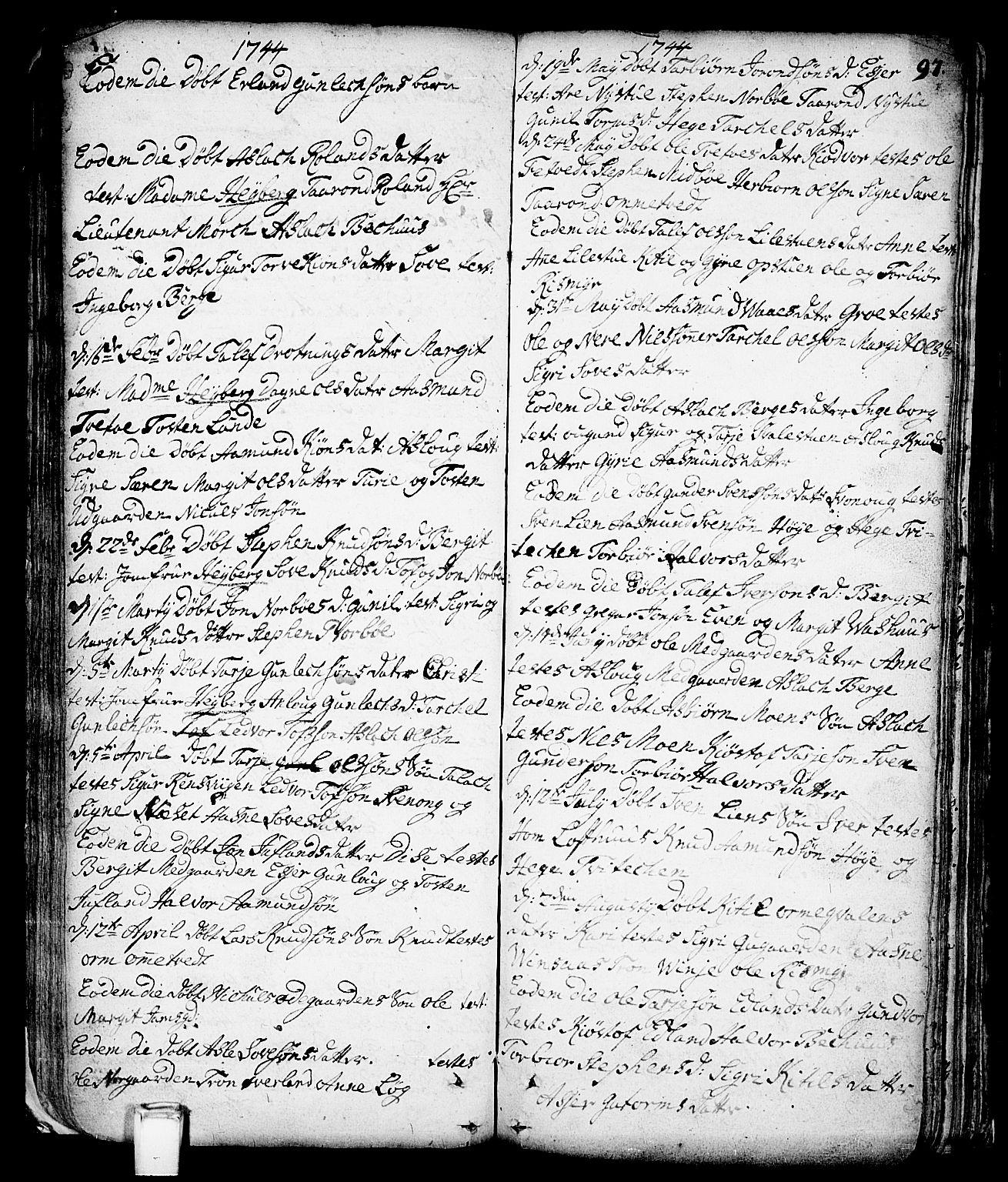 SAKO, Vinje kirkebøker, F/Fa/L0001: Ministerialbok nr. I 1, 1717-1766, s. 97