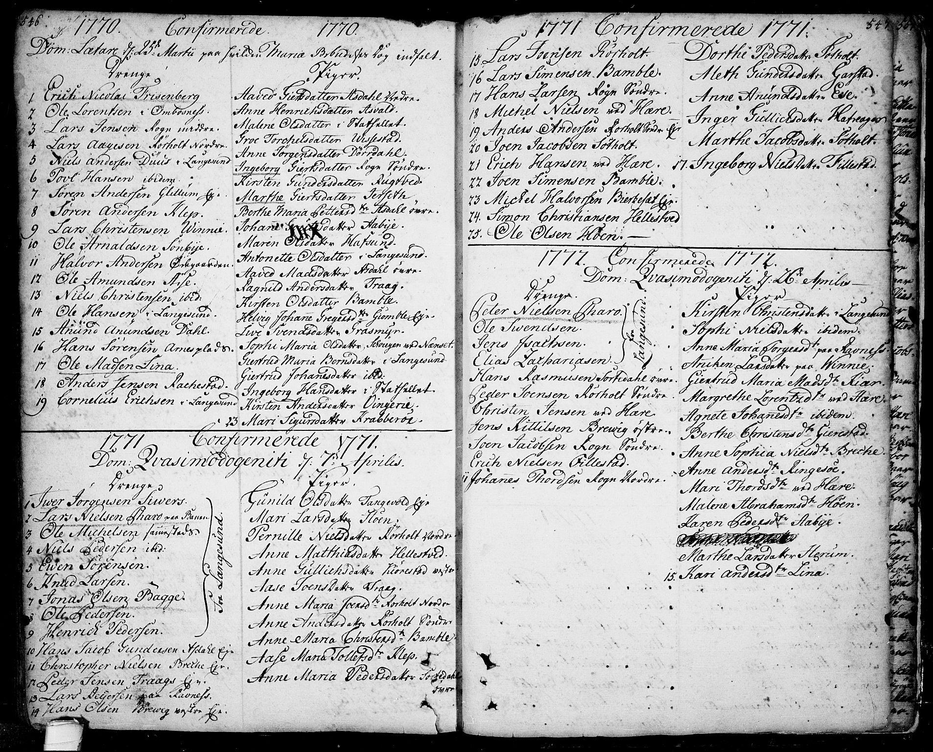 SAKO, Bamble kirkebøker, F/Fa/L0001: Ministerialbok nr. I 1, 1702-1774, s. 546-547