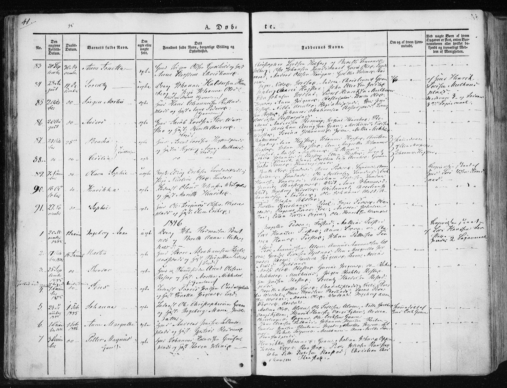 SAT, Ministerialprotokoller, klokkerbøker og fødselsregistre - Nord-Trøndelag, 730/L0280: Ministerialbok nr. 730A07 /1, 1840-1854, s. 41