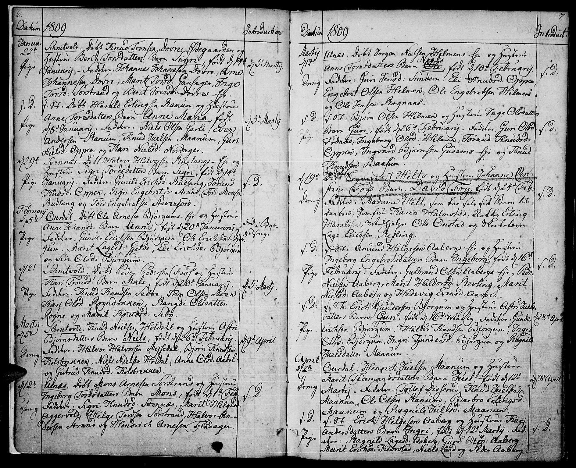 SAH, Nord-Aurdal prestekontor, Ministerialbok nr. 1, 1808-1815, s. 6-7
