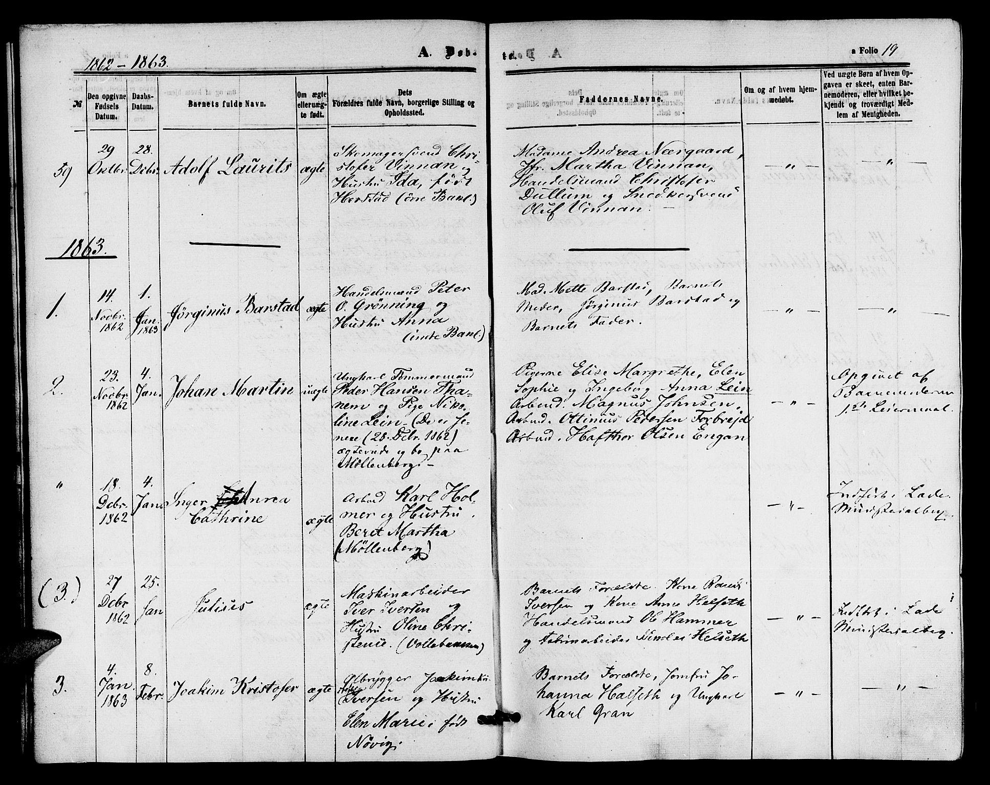 SAT, Ministerialprotokoller, klokkerbøker og fødselsregistre - Sør-Trøndelag, 604/L0185: Ministerialbok nr. 604A06, 1861-1865, s. 19